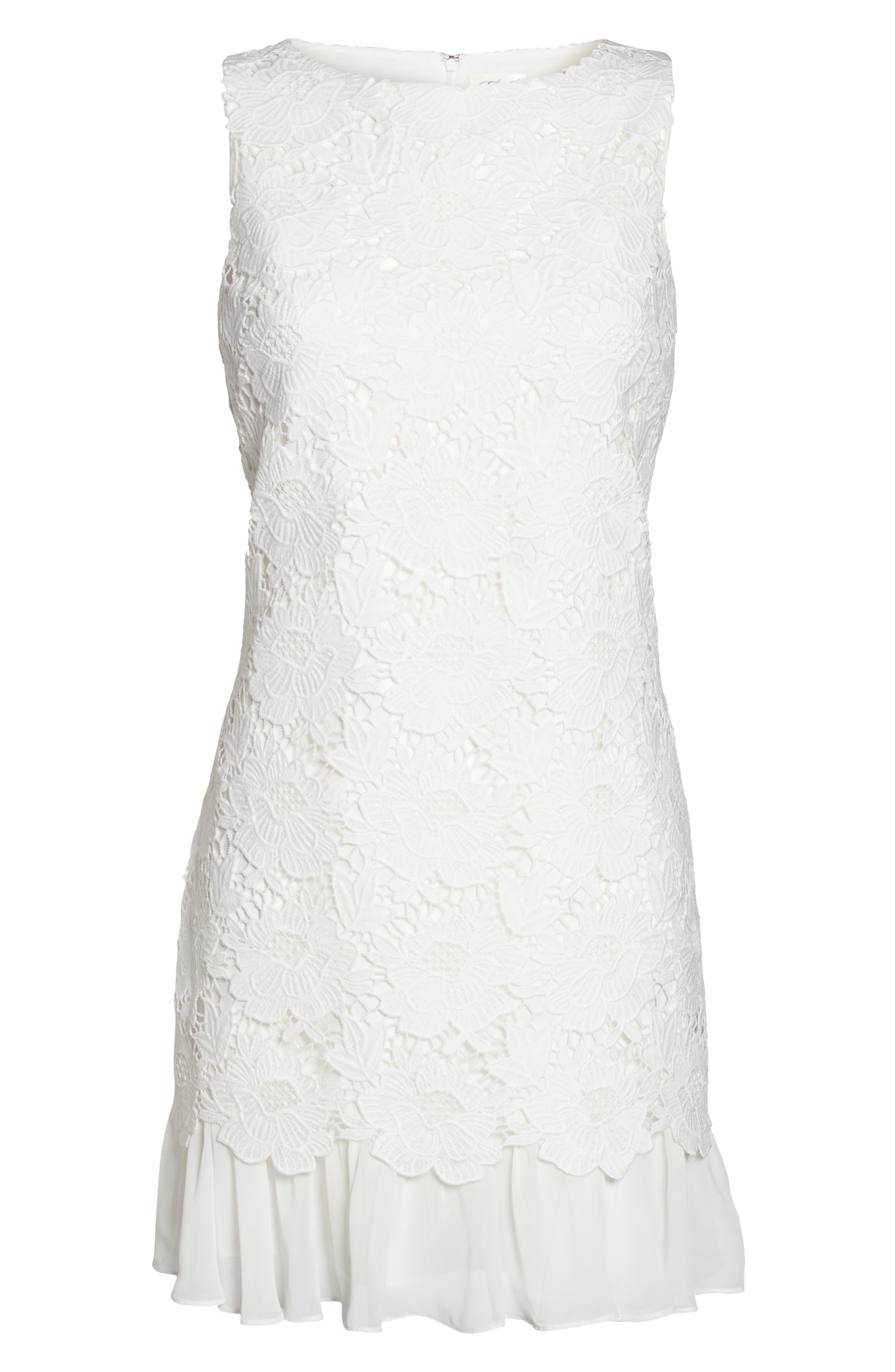 Lace Ruffle Hem Sheath Dress,                             Alternate thumbnail 12, color,