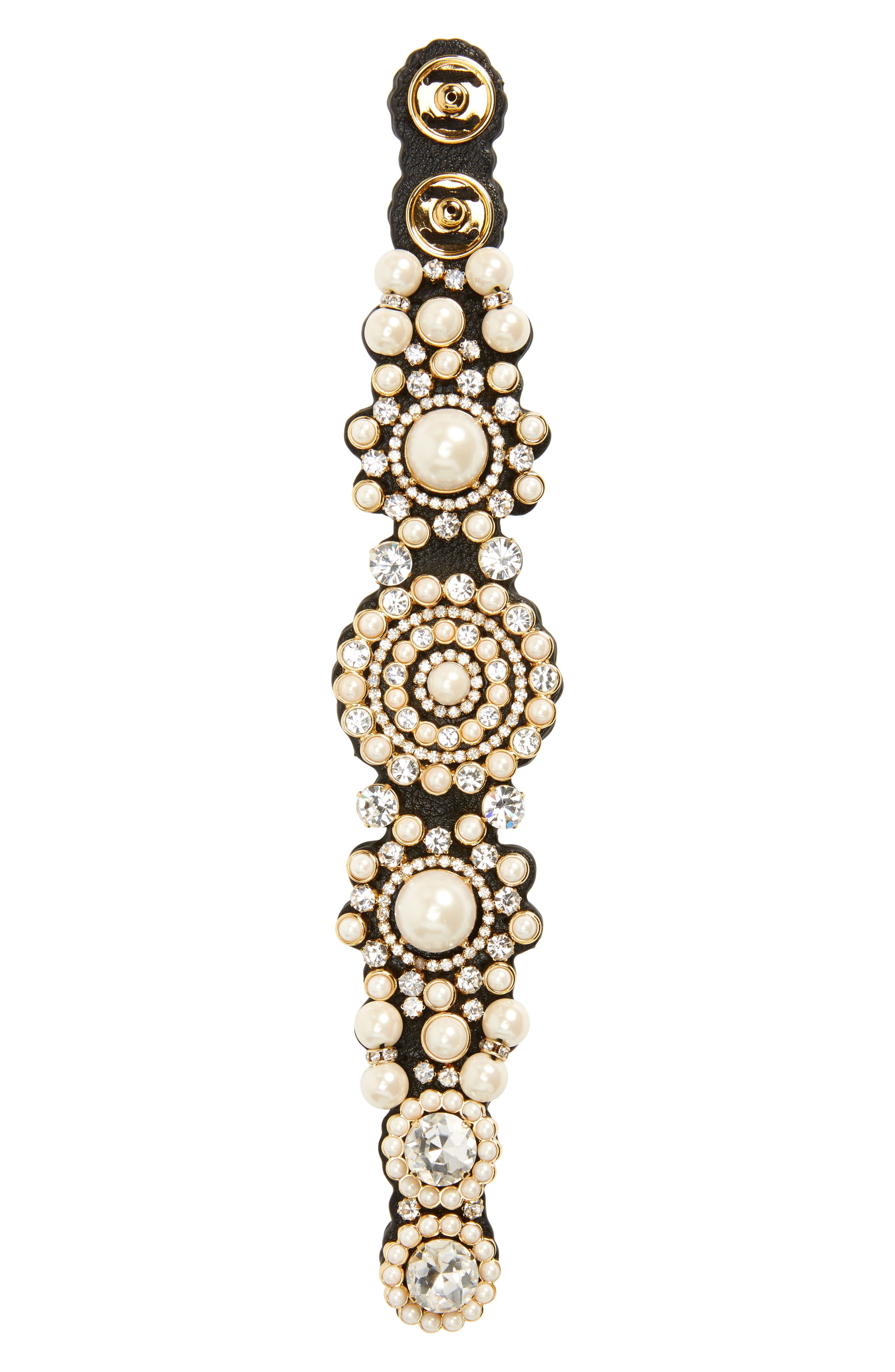 luminous crystal & imitation pearl bracelet,                             Main thumbnail 1, color,                             100
