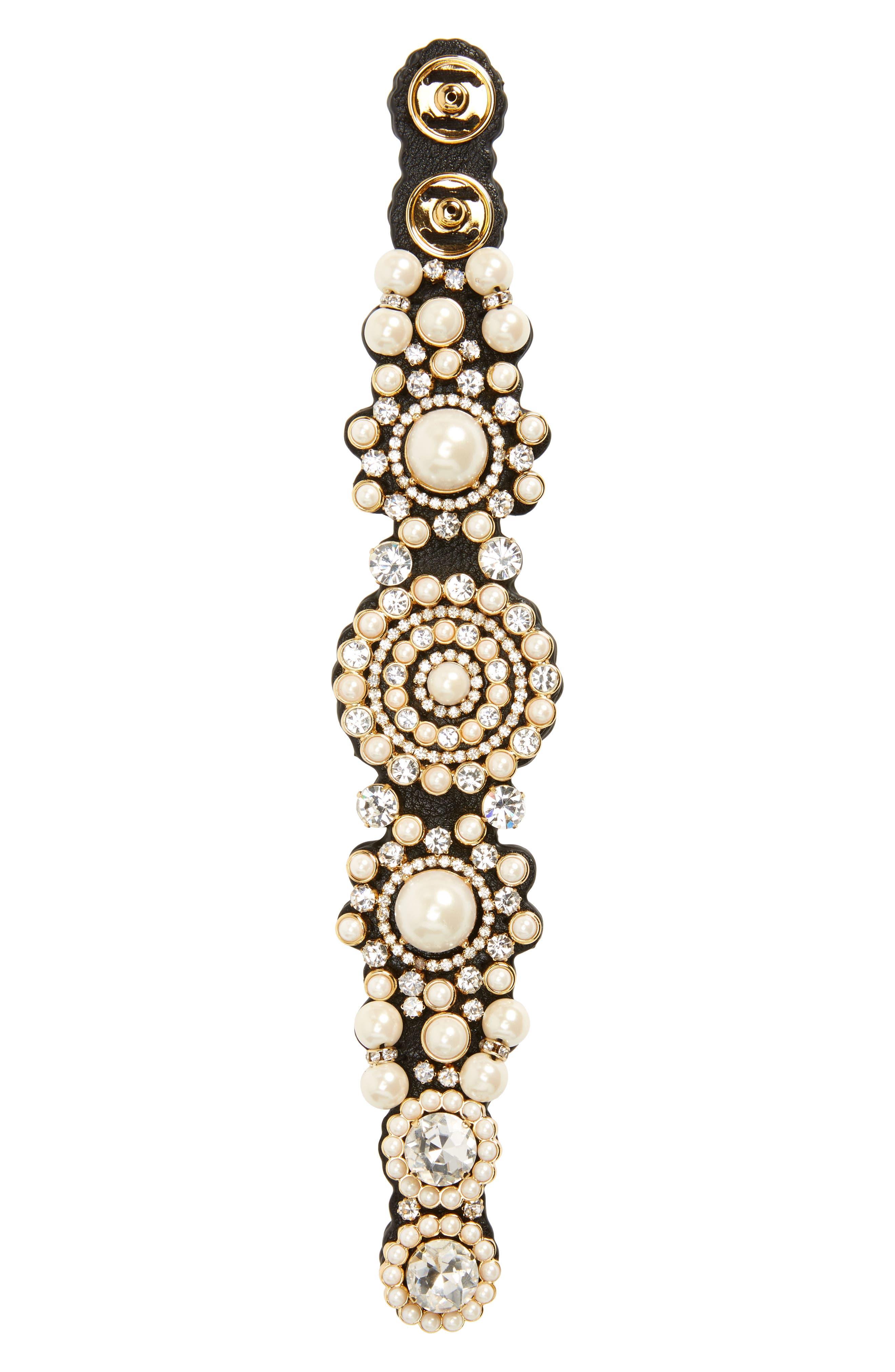 luminous crystal & imitation pearl bracelet,                         Main,                         color, 100