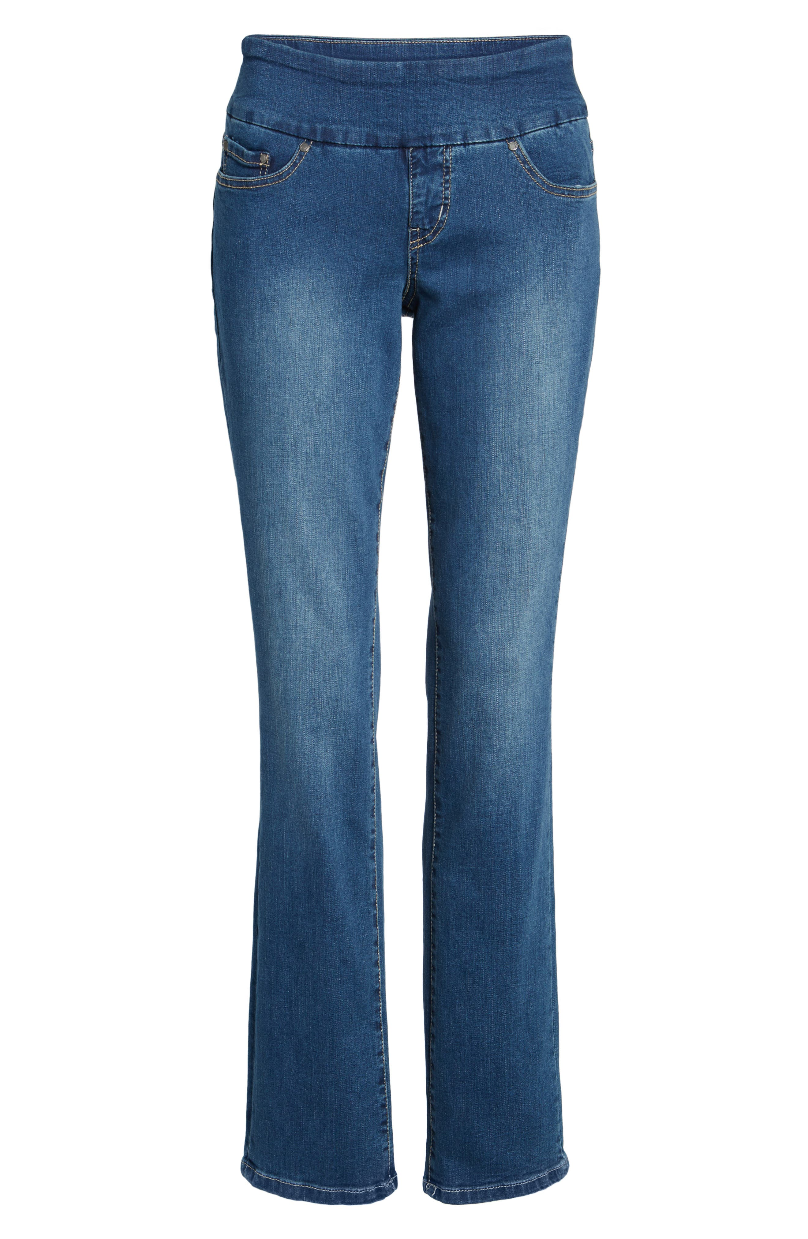Peri Pull-On Straight Leg Jeans,                             Alternate thumbnail 6, color,                             MEDIUM INDIGO