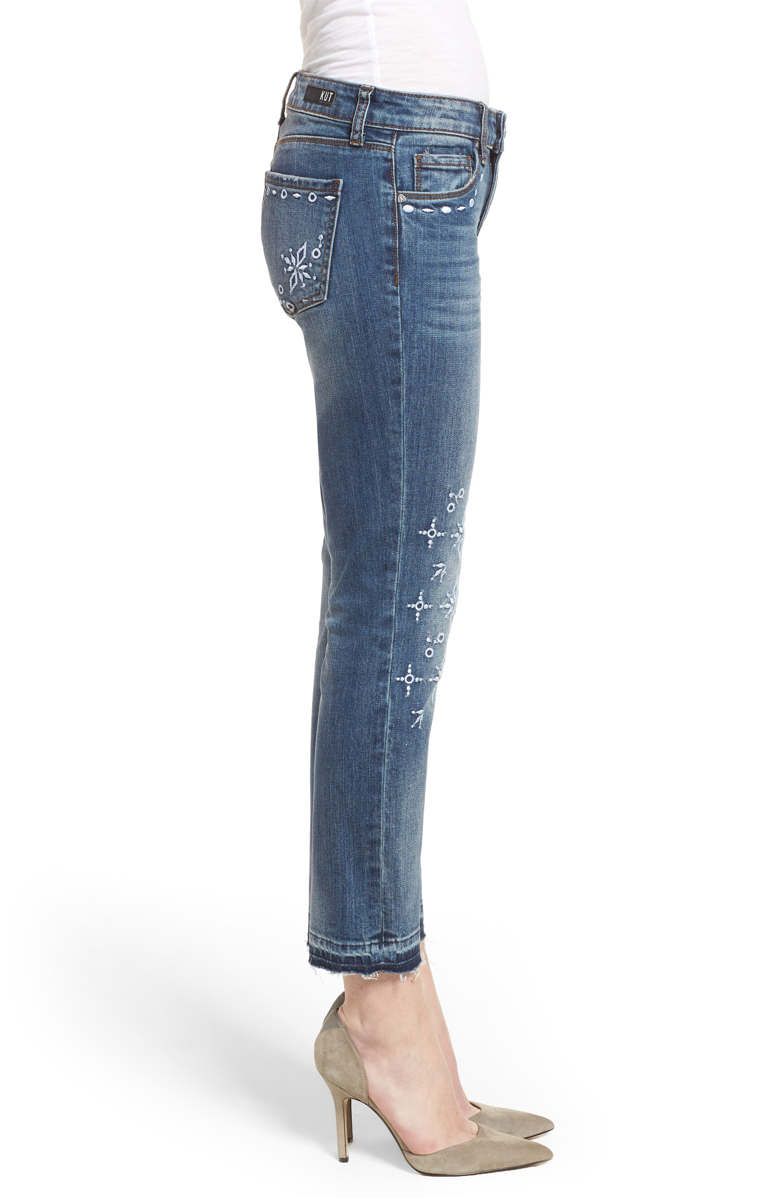 Reese Release Hem Embroidered Jeans,                             Alternate thumbnail 3, color,                             400