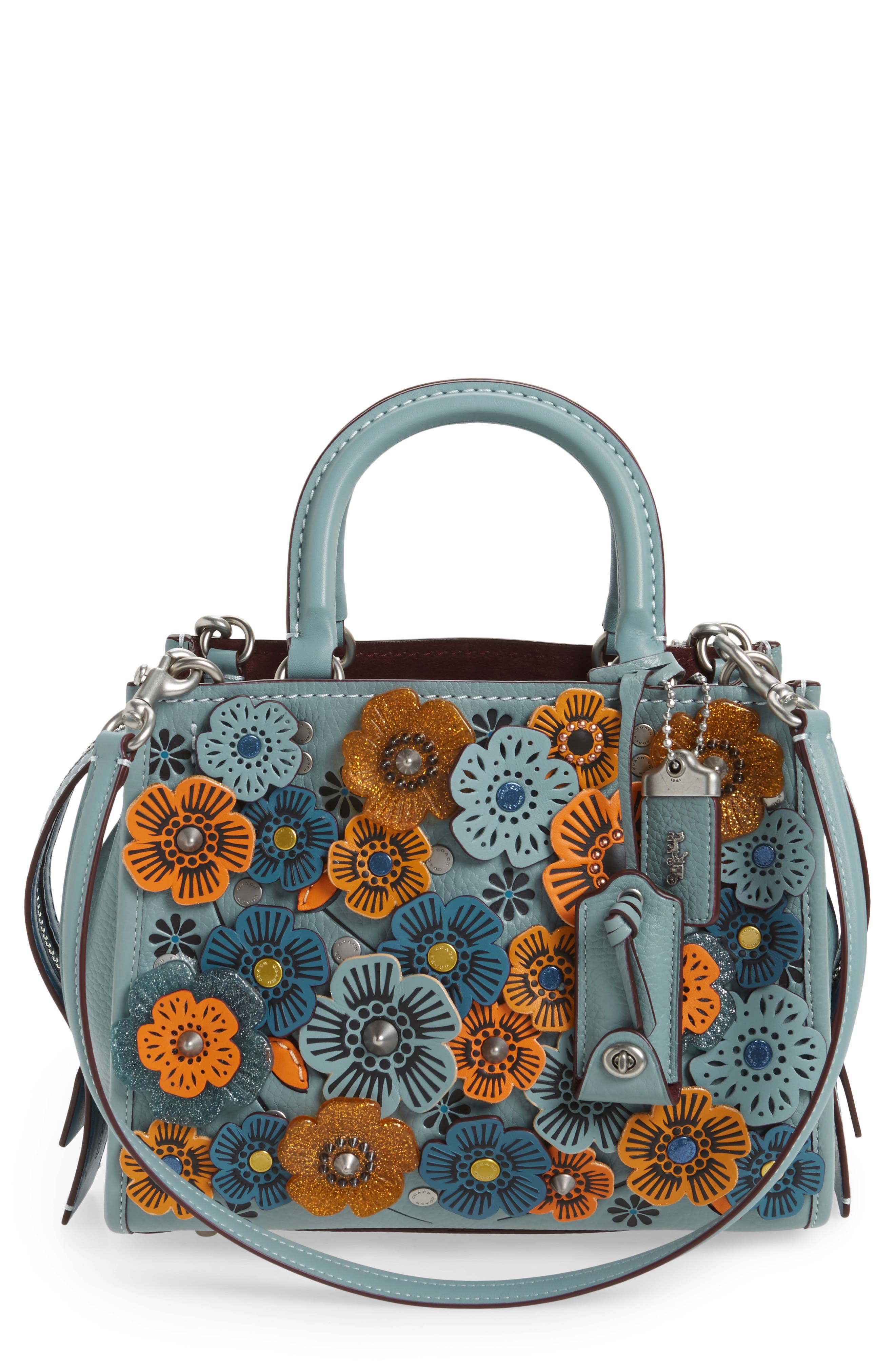 Rogue 25 Tea Rose Appliqué Leather Crossbody Bag,                             Main thumbnail 1, color,