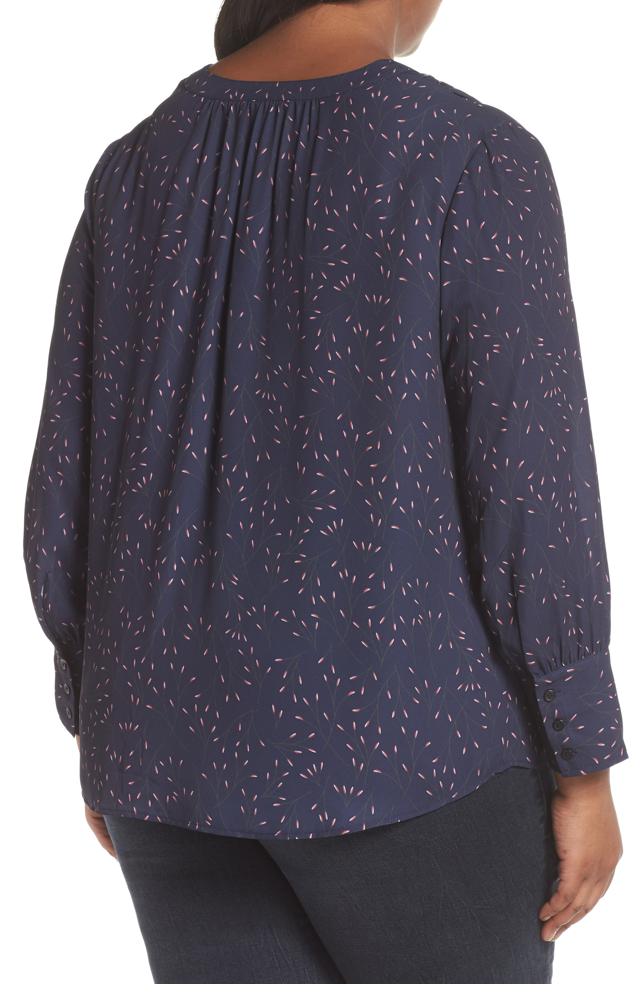 Placket Front Blouse,                             Alternate thumbnail 2, color,                             NAVY WHISPERING WILLOWS PRINT