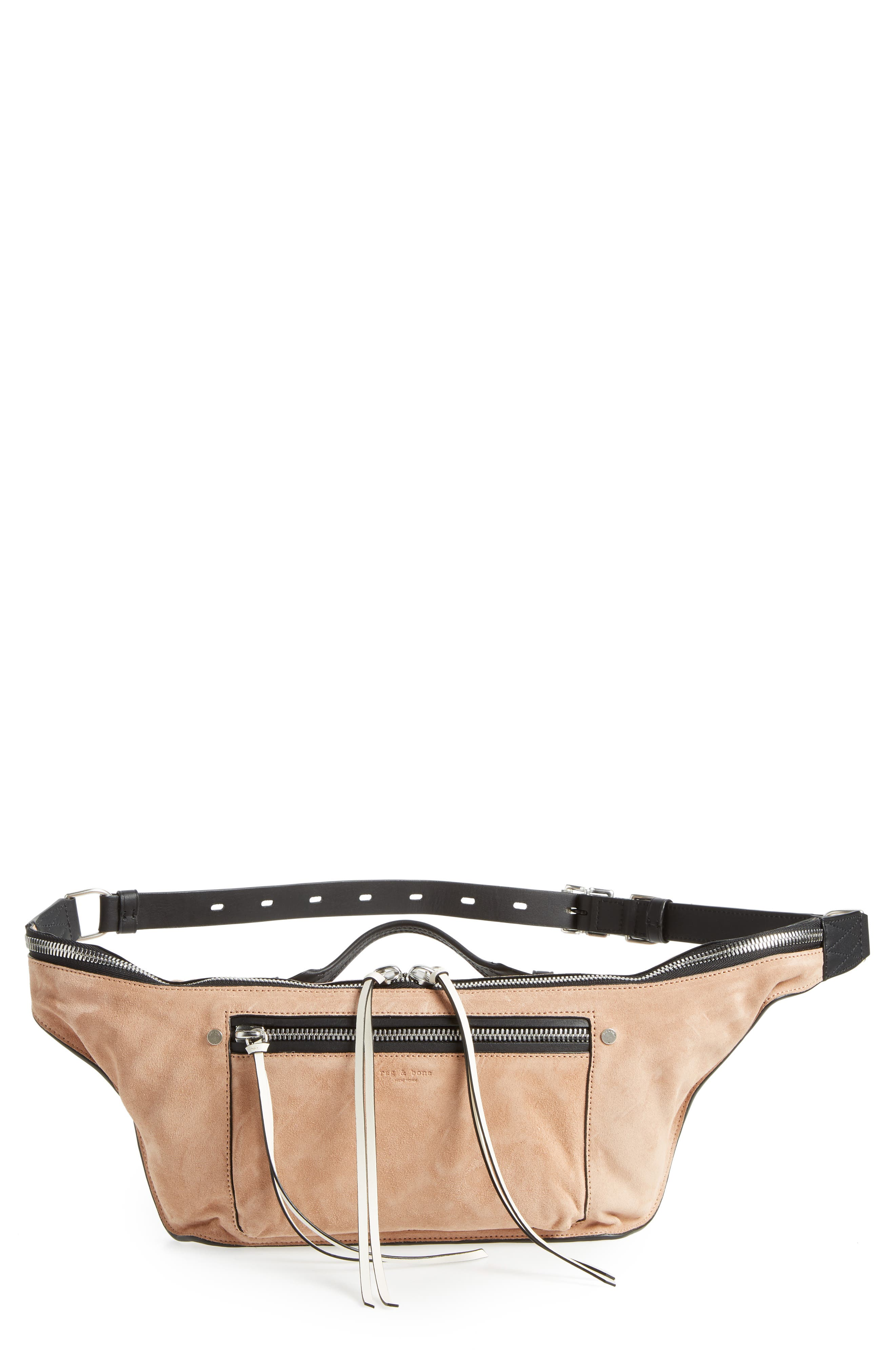 Elliot Leather Fanny Pack,                             Main thumbnail 1, color,                             NUDE SUEDE