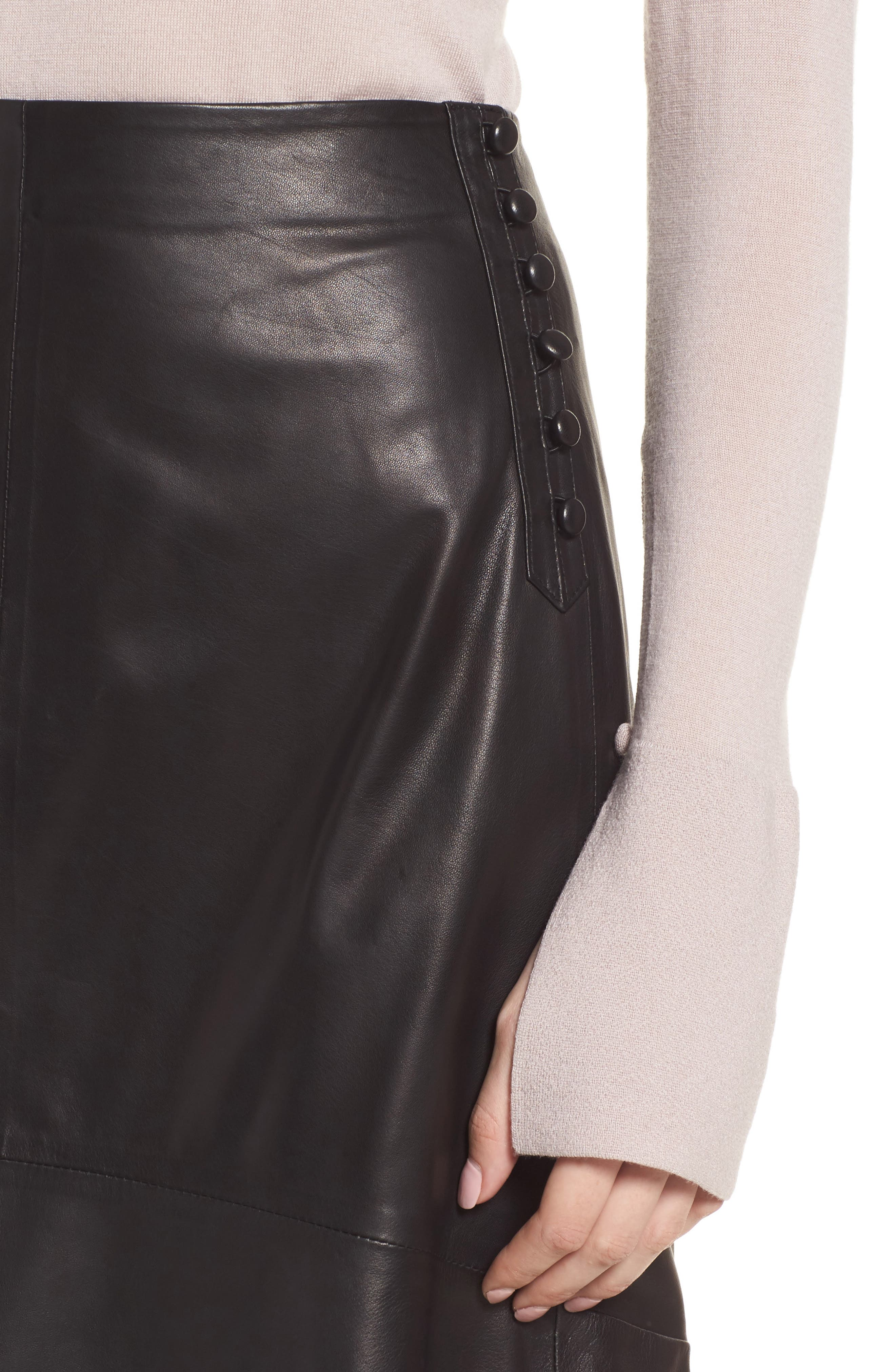 Button Detail A-Line Leather Skirt,                             Alternate thumbnail 4, color,                             001