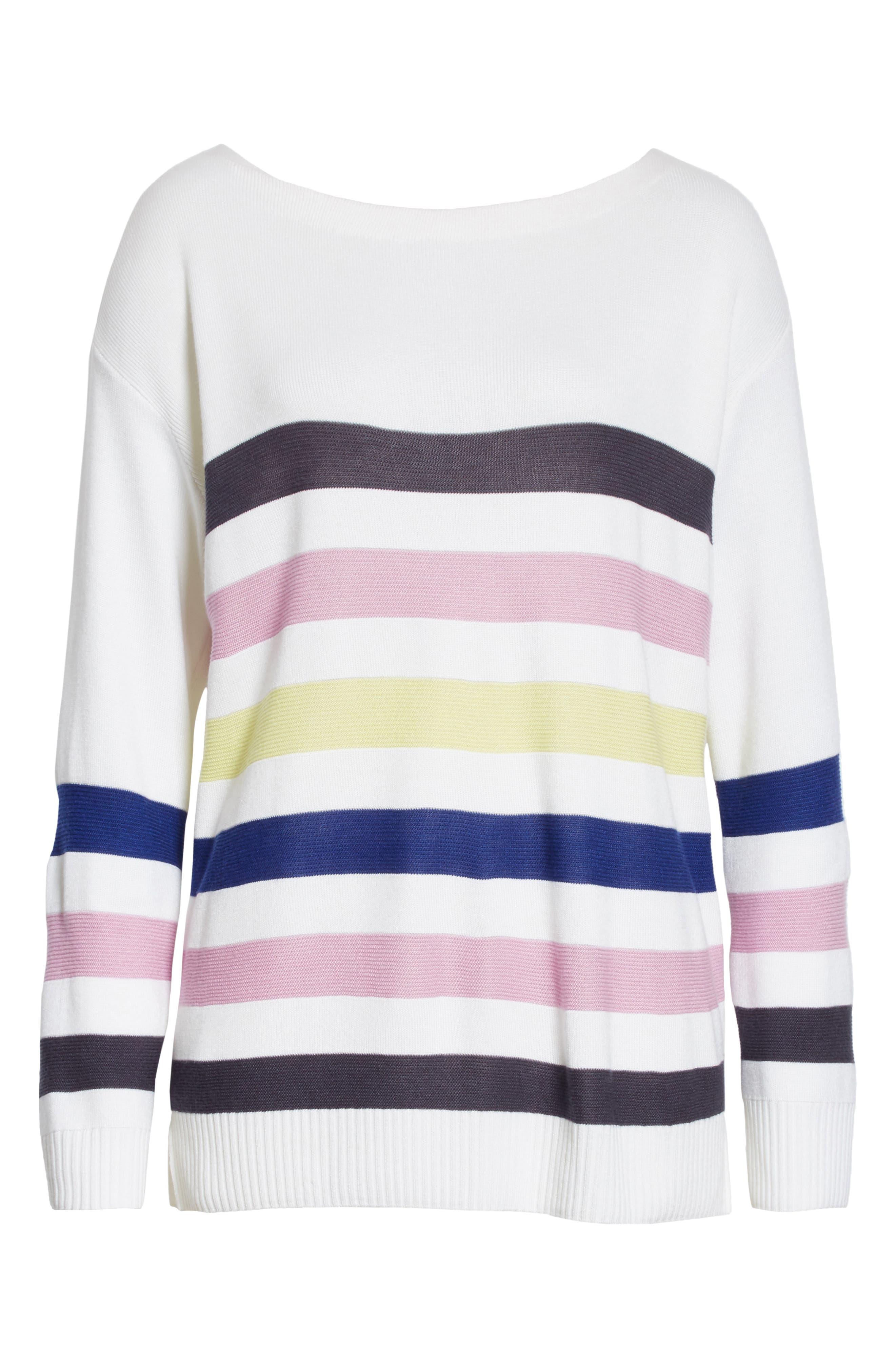 Links Stripe Knit Sweater,                             Alternate thumbnail 6, color,                             100