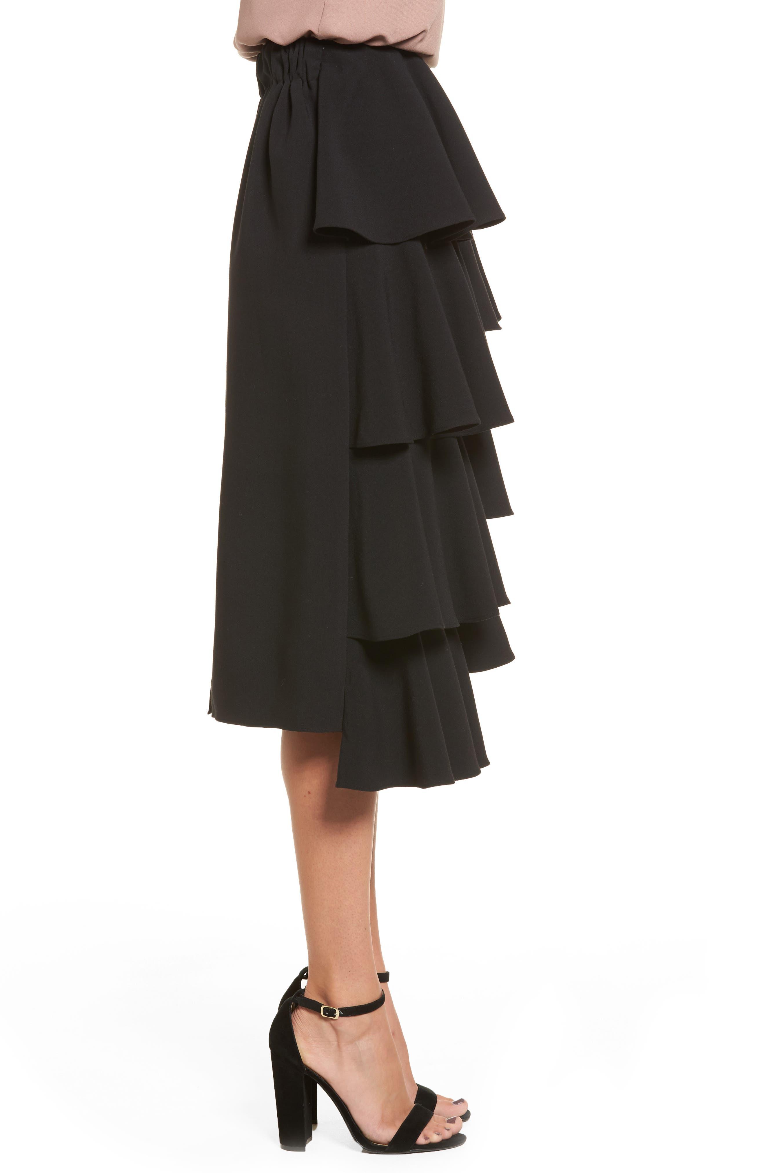 Tiered Ruffle Midi Skirt,                             Alternate thumbnail 3, color,                             001