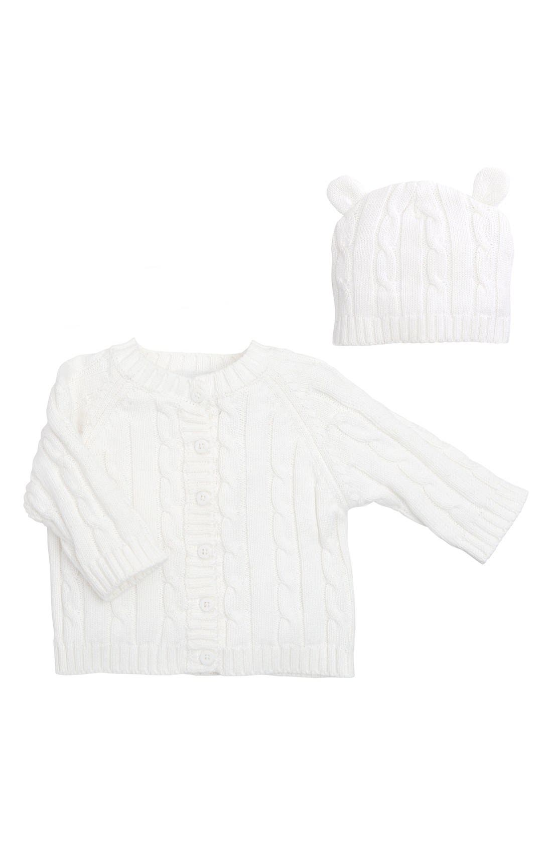Cable Knit Sweater & Hat Set,                             Main thumbnail 1, color,                             WHITE