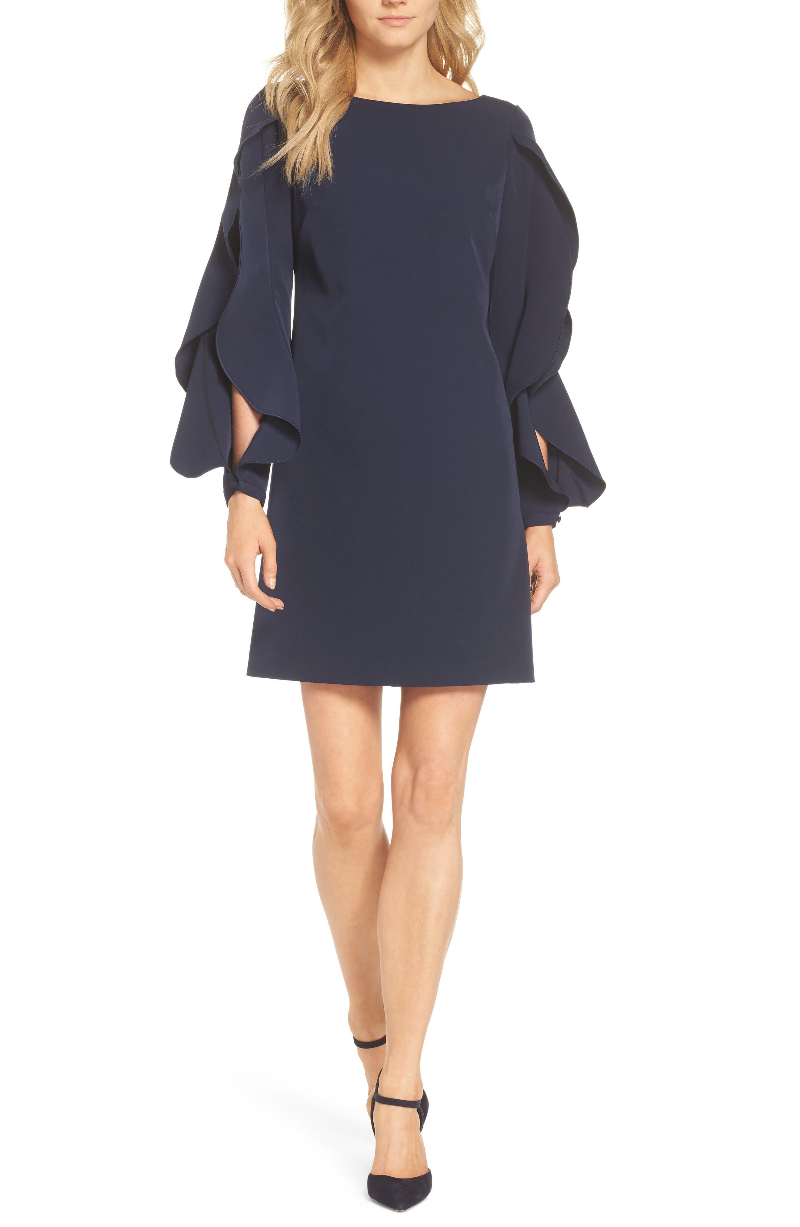 Crepe Ruffle Sleeve Shift Dress,                             Main thumbnail 1, color,                             410