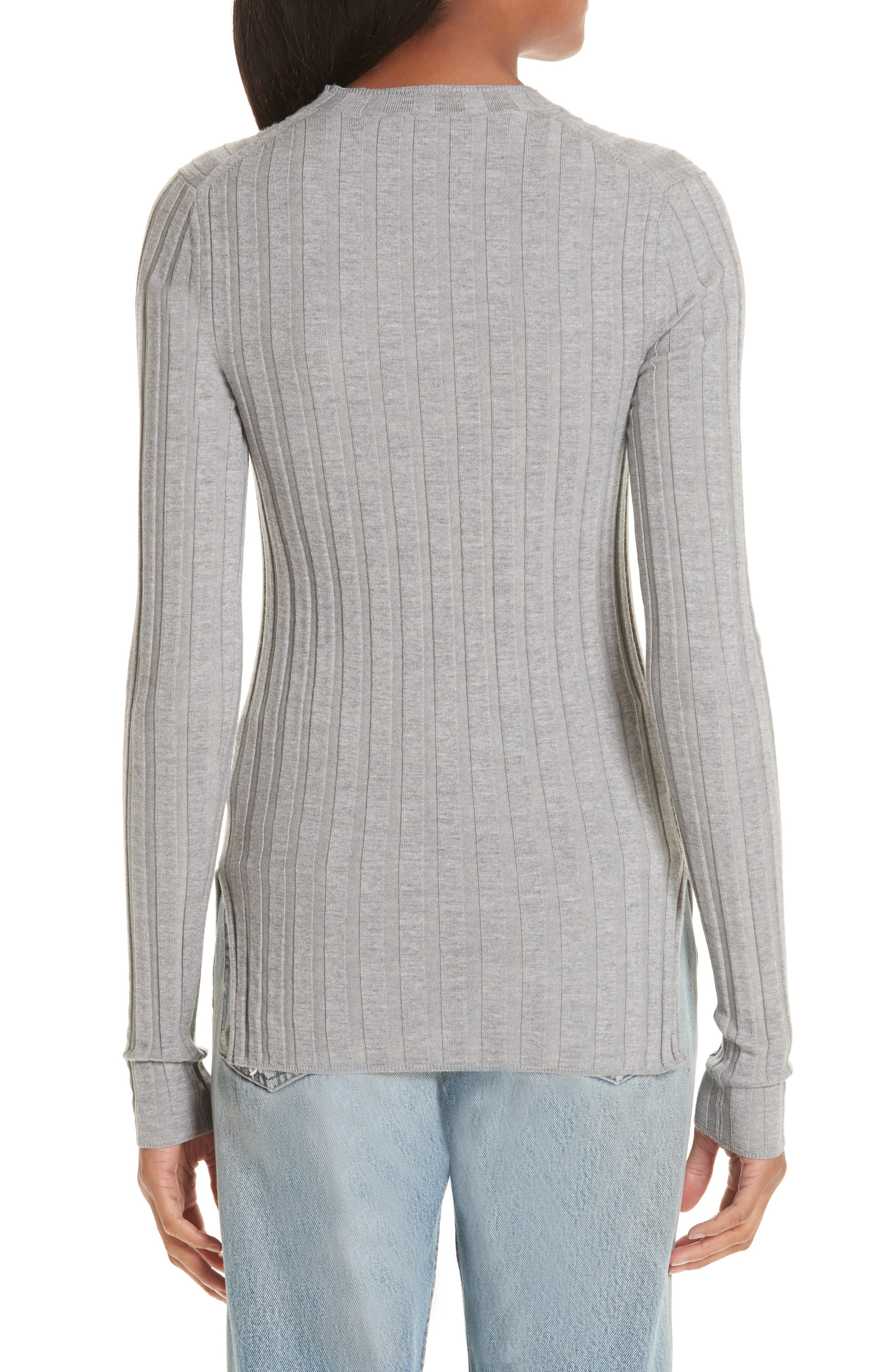 Carina Fitted Crewneck Sweater,                             Alternate thumbnail 2, color,                             SILVER GREY