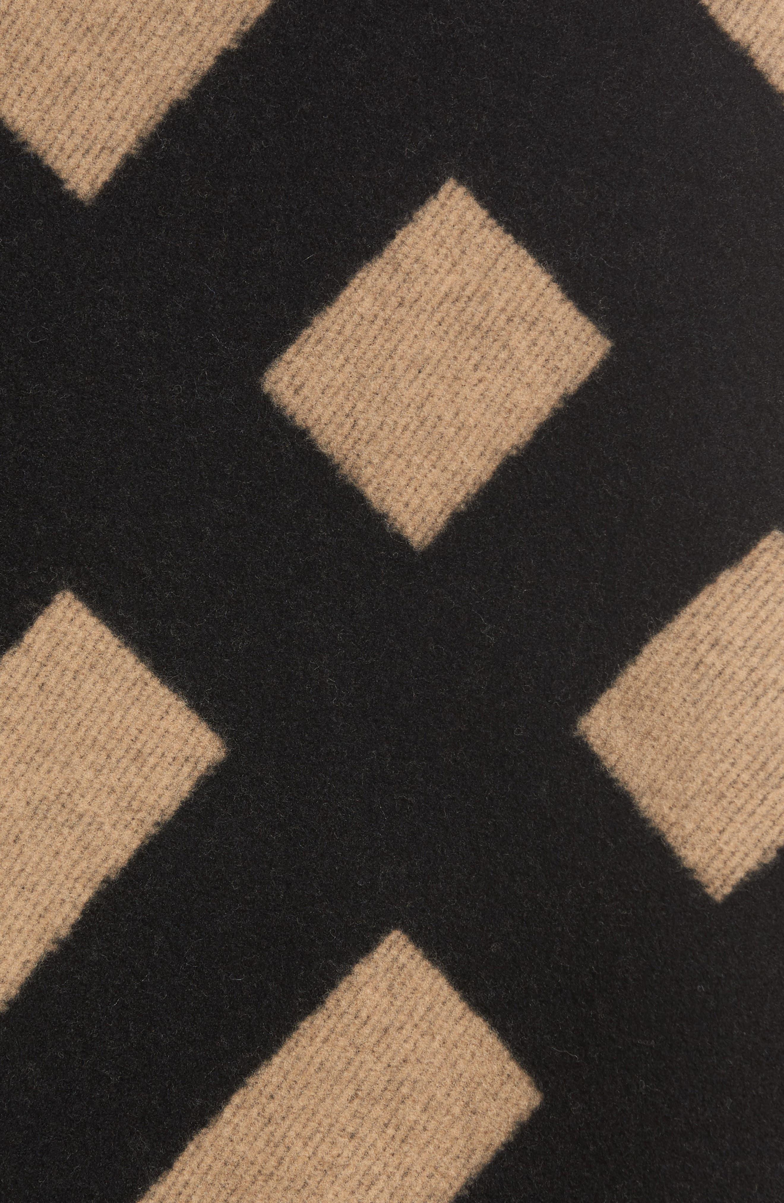 Blanket Check Wool & Cashmere Poncho,                             Alternate thumbnail 5, color,                             CAMEL/ BLACK