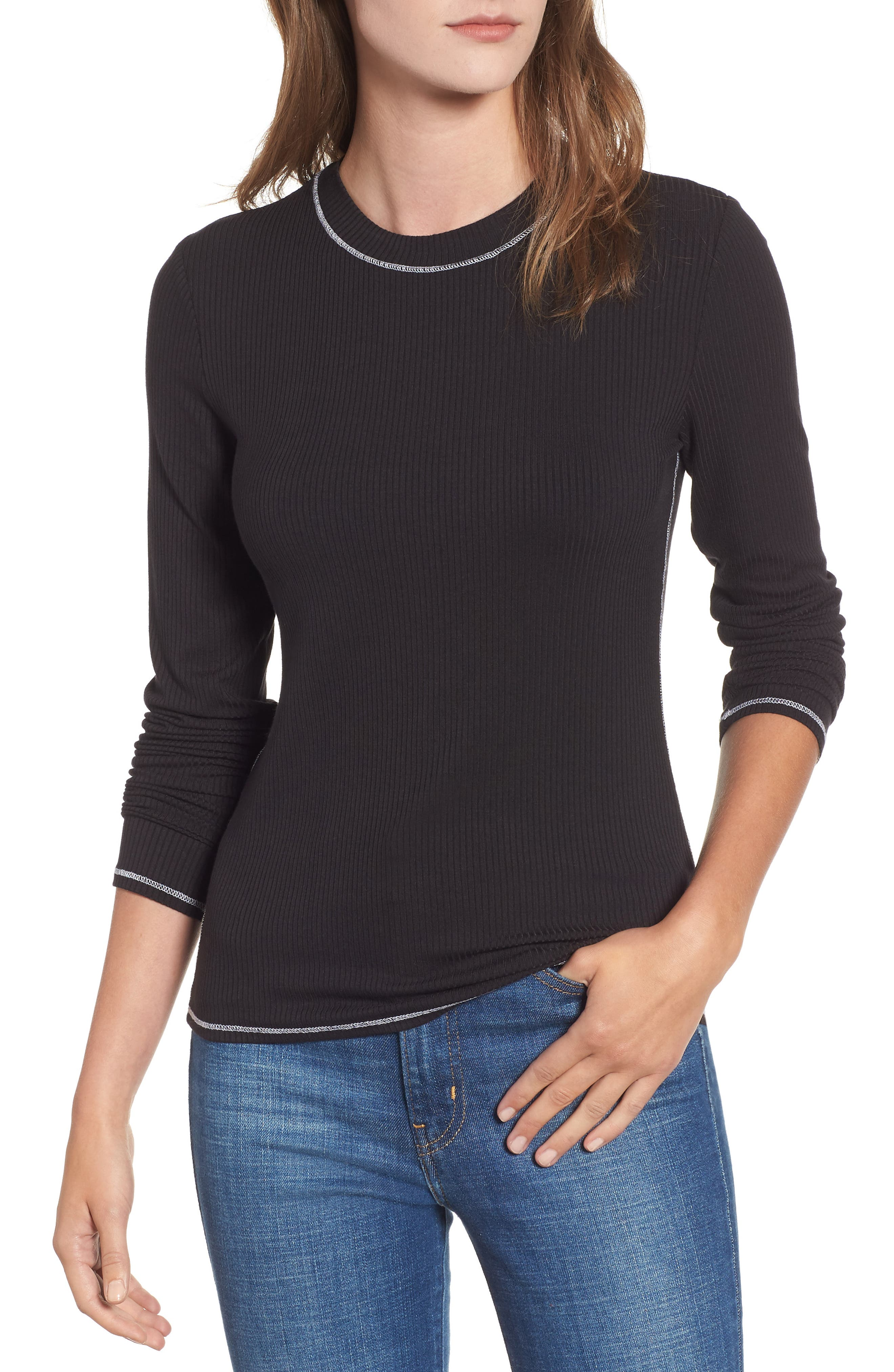 Contrast Stitch Tee,                         Main,                         color, 001