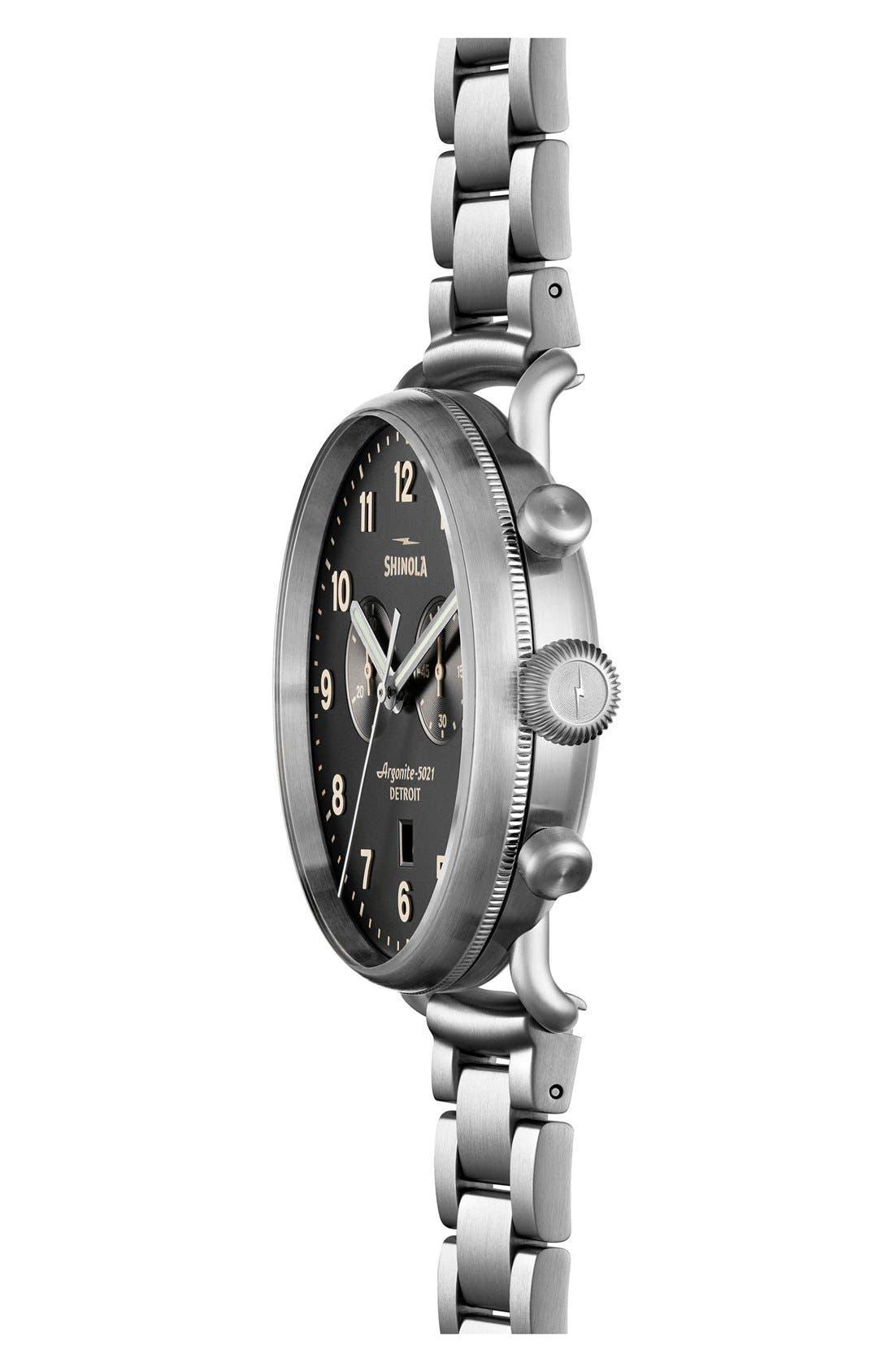 The Canfield Bracelet Watch, 43mm,                             Alternate thumbnail 3, color,                             SILVER/ BLACK