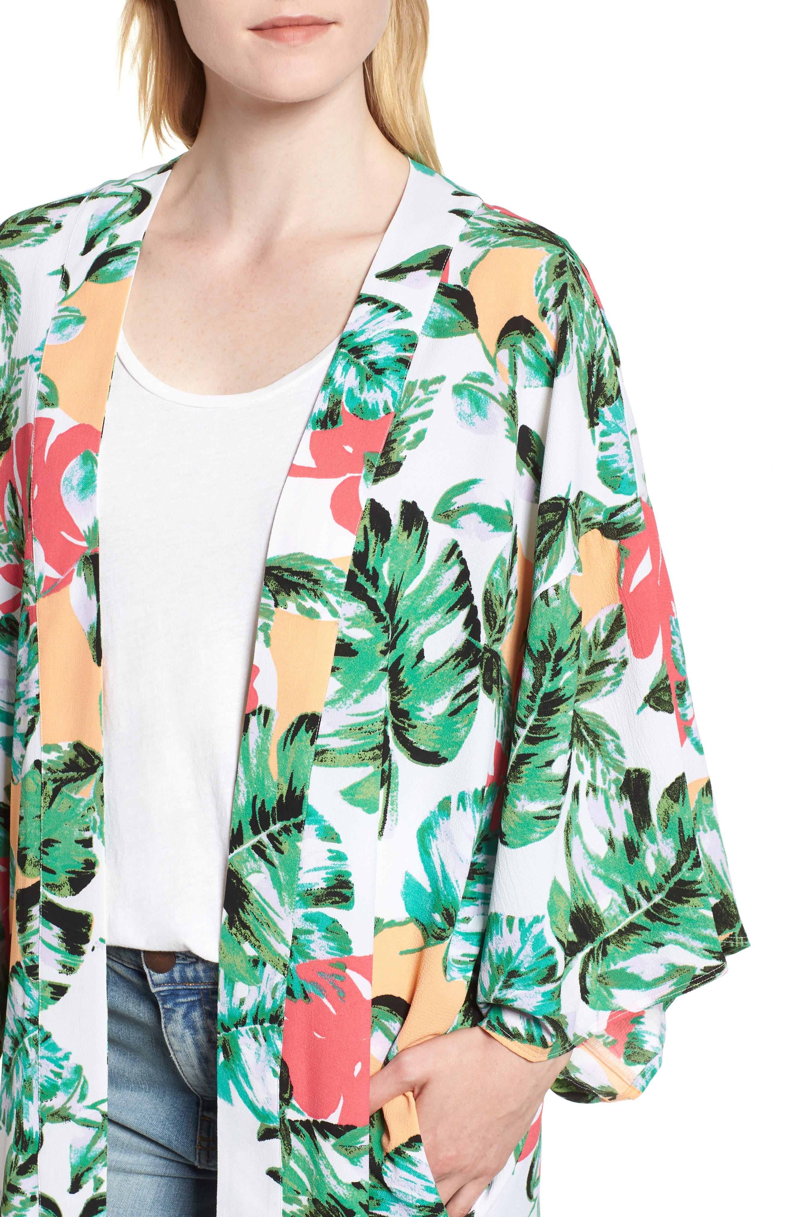 Vacation Print Kimono,                             Alternate thumbnail 4, color,                             CORAL PALMS PLEASE