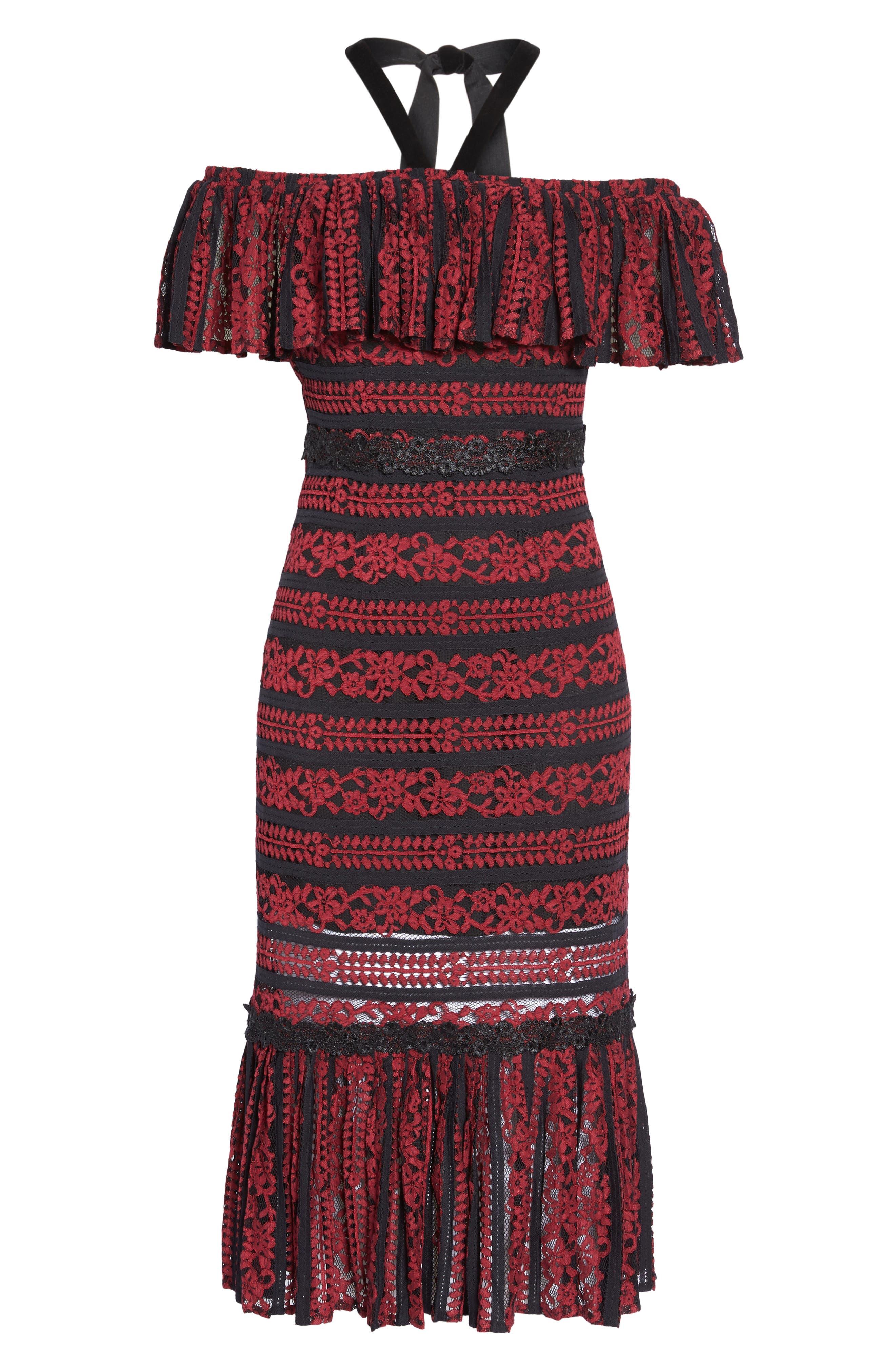 Stella Off the Shoulder Lace Midi Dress,                             Alternate thumbnail 6, color,                             649
