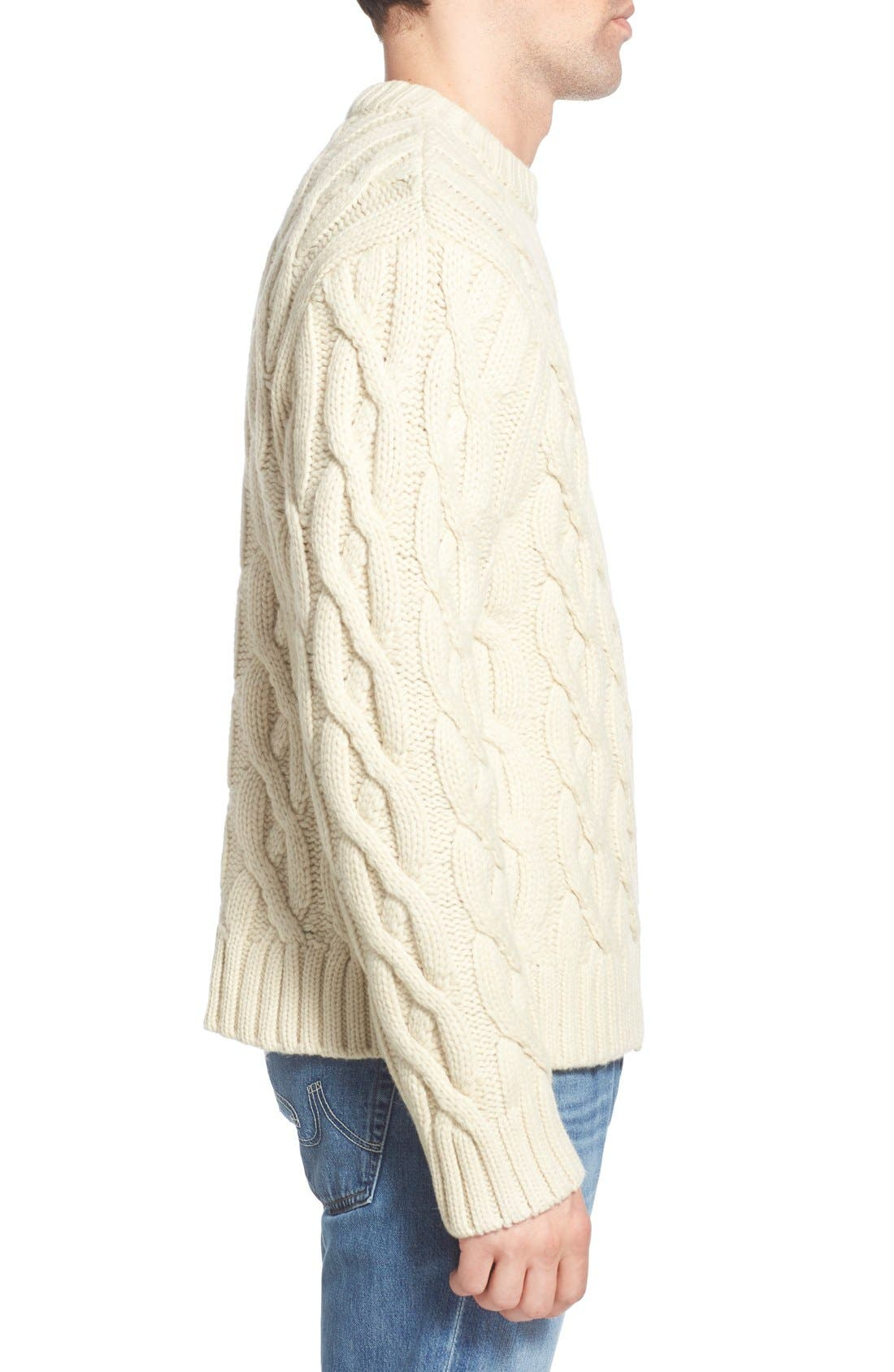 Regular Fit Cable Knit Crewneck Wool Blend Sweater,                             Alternate thumbnail 6, color,
