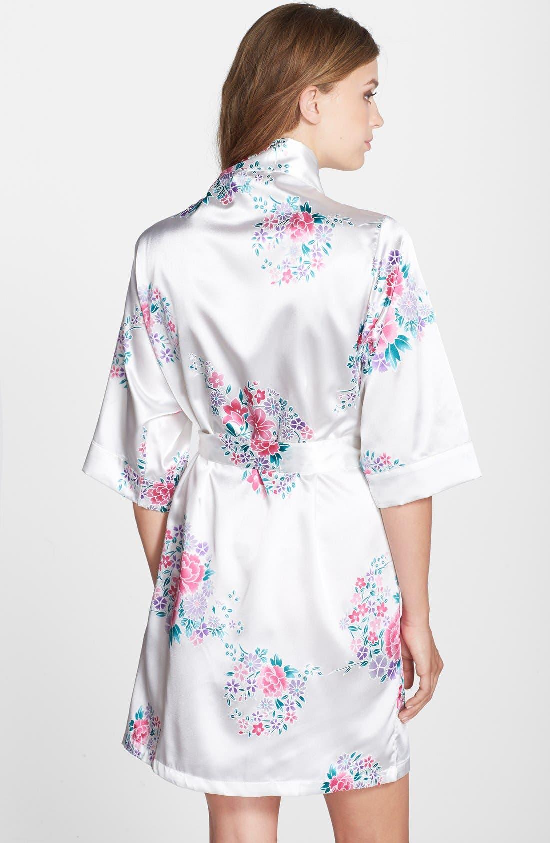 Monogram Floral Satin Robe,                             Alternate thumbnail 140, color,