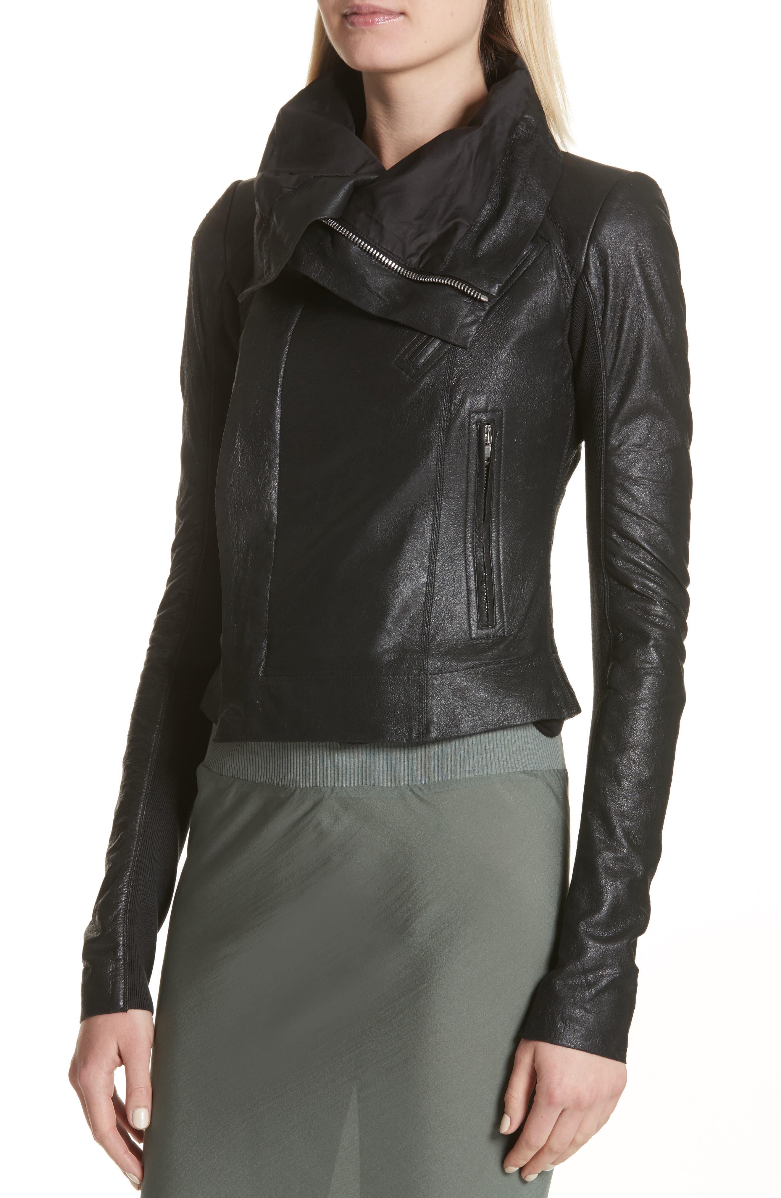 Classic Leather Biker Jacket,                             Alternate thumbnail 4, color,                             001