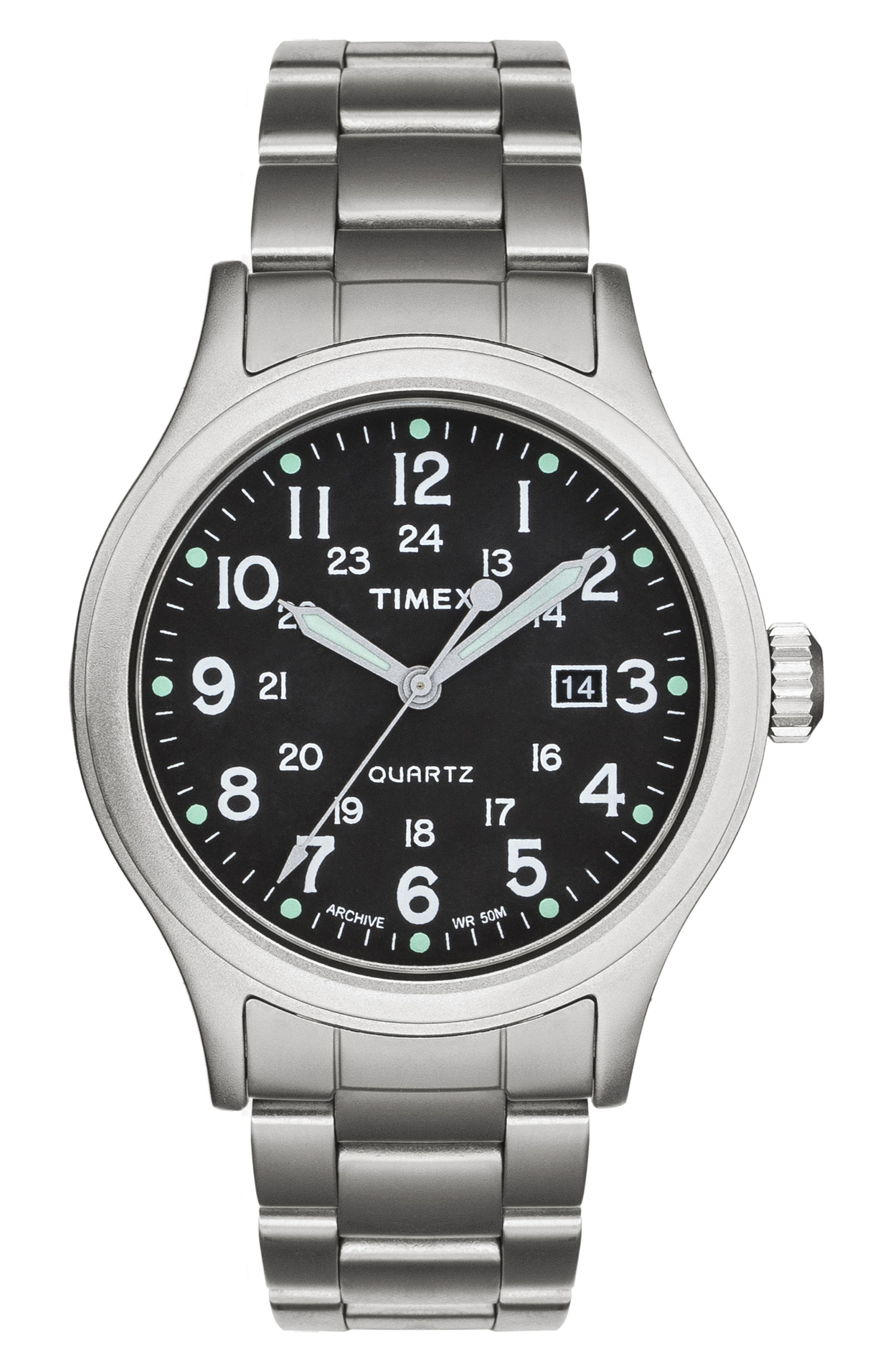 Allied Bracelet Watch, 40mm,                             Main thumbnail 1, color,                             SILVER/ BLACK