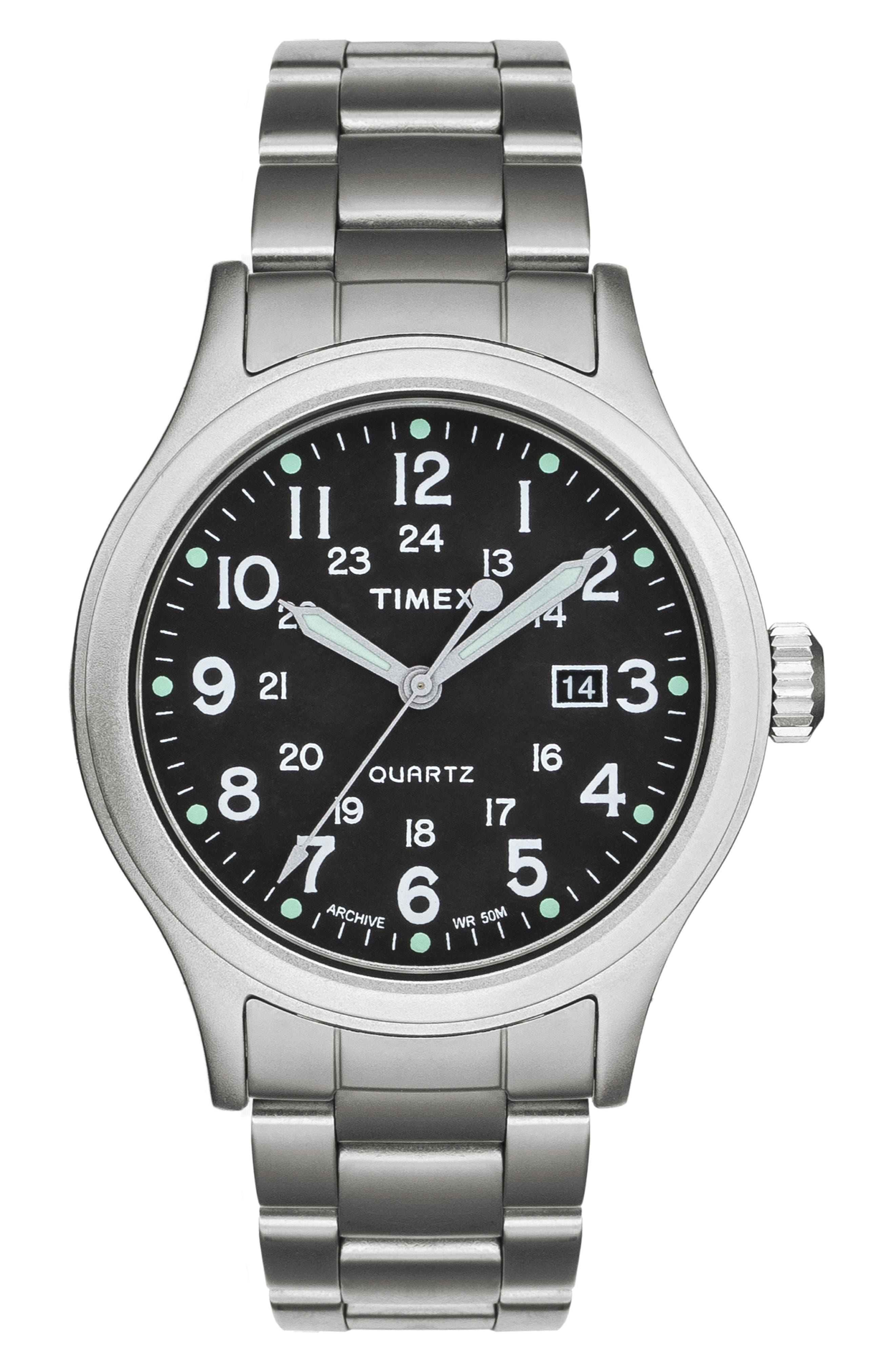 Allied Bracelet Watch, 40mm,                         Main,                         color, SILVER/ BLACK