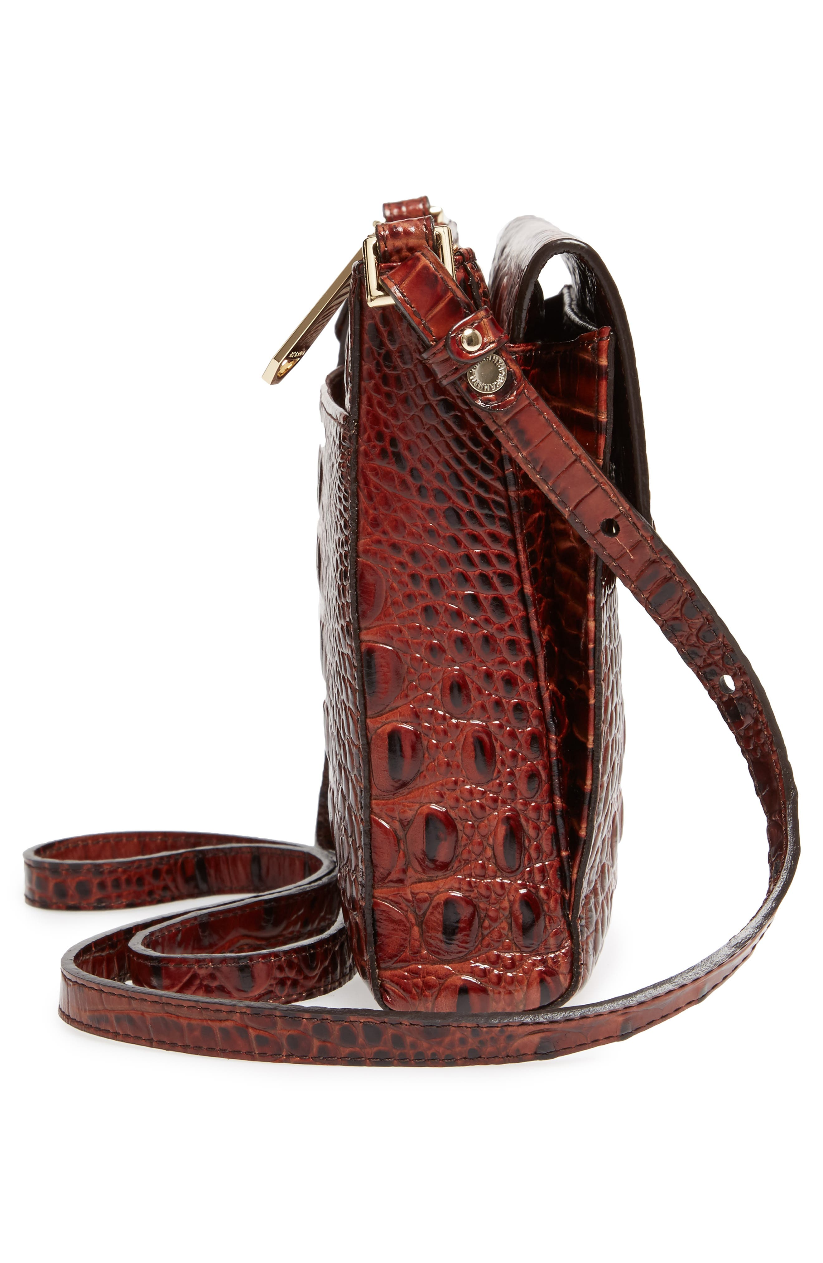 Melbourne Manhattan Croc Embossed Leather Crossbody Bag,                             Alternate thumbnail 5, color,                             PECAN
