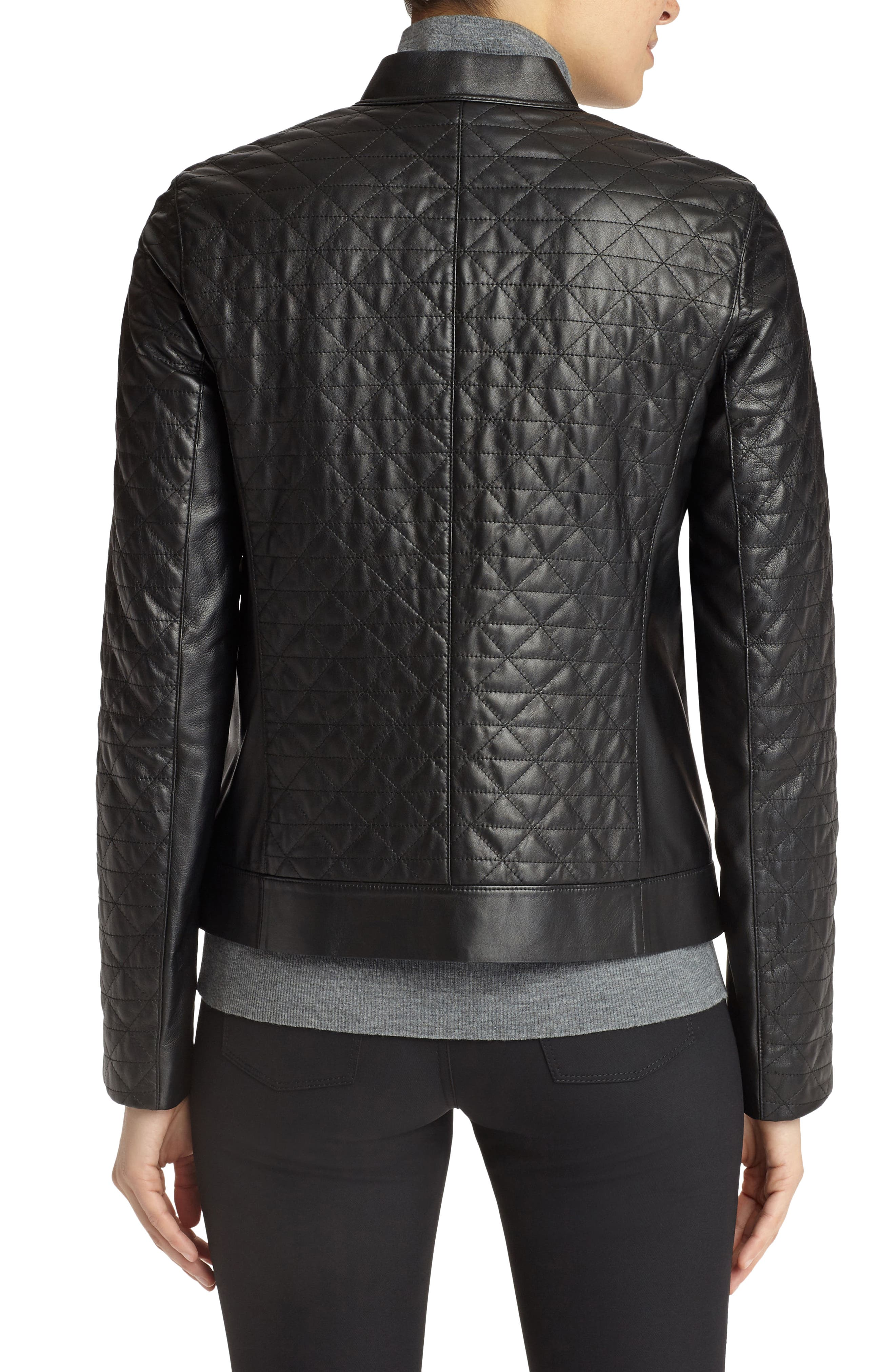 Becks Quilted Lambskin Leather Moto Jacket,                             Alternate thumbnail 2, color,                             001