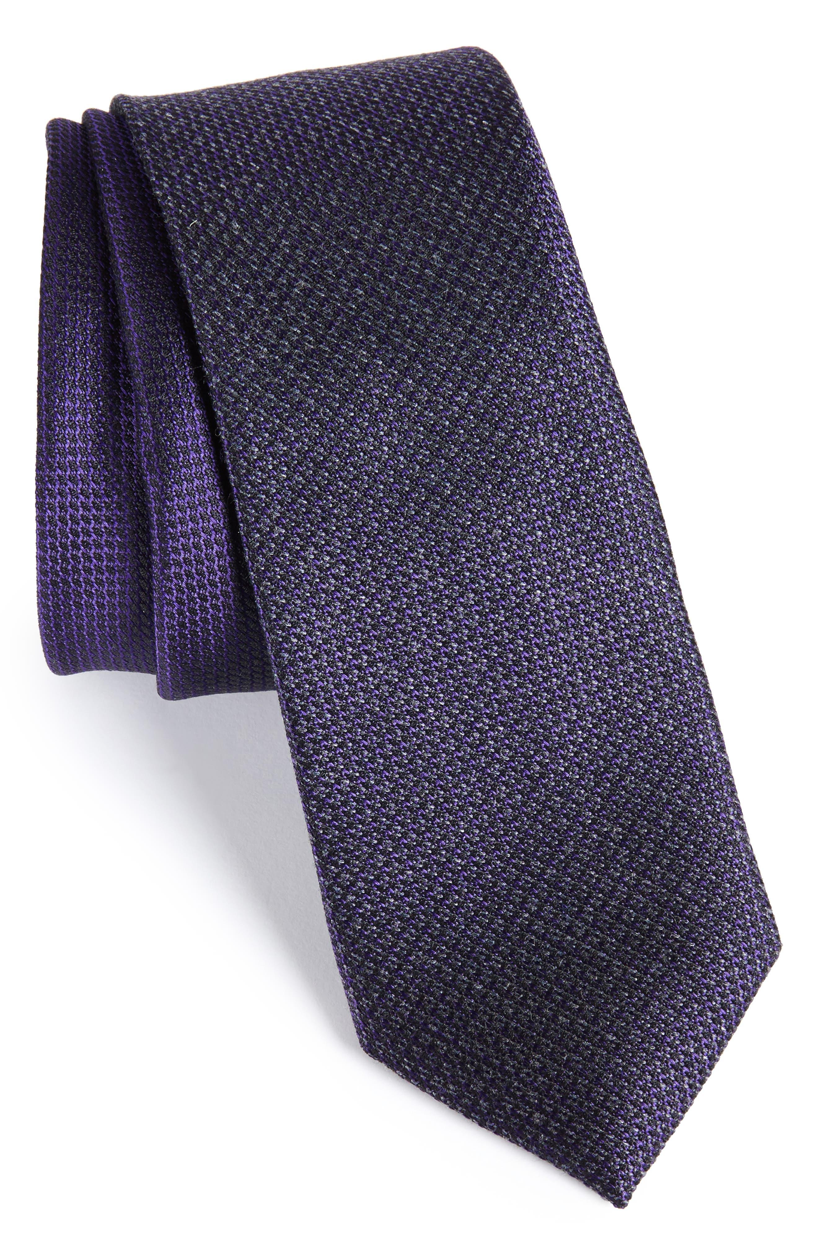 Kenton Textured Silk Blend Skinny Tie,                             Main thumbnail 4, color,