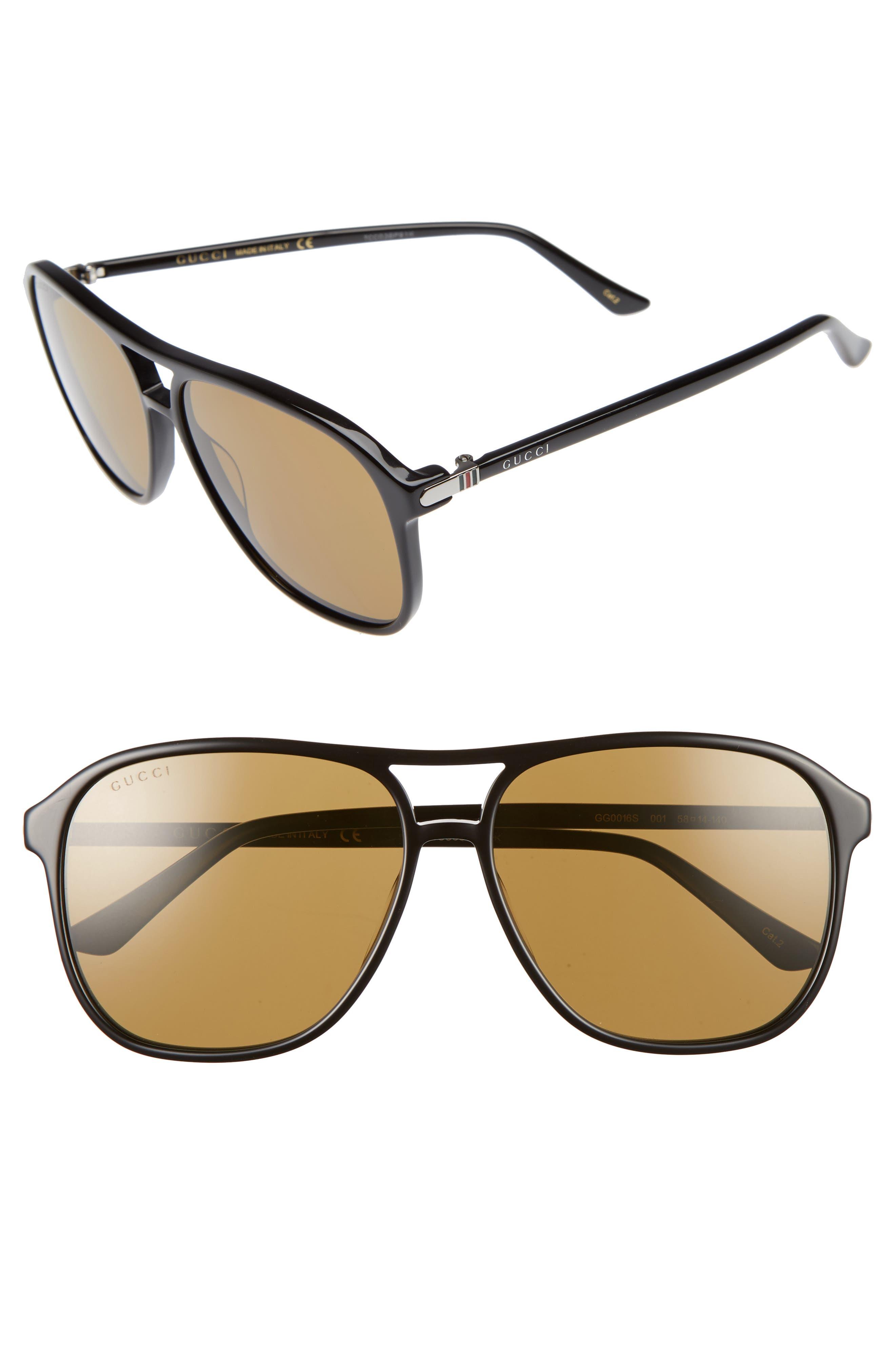 Retro Web 58mm Sunglasses,                             Main thumbnail 1, color,                             BLACK W/ NICOTENE LENS