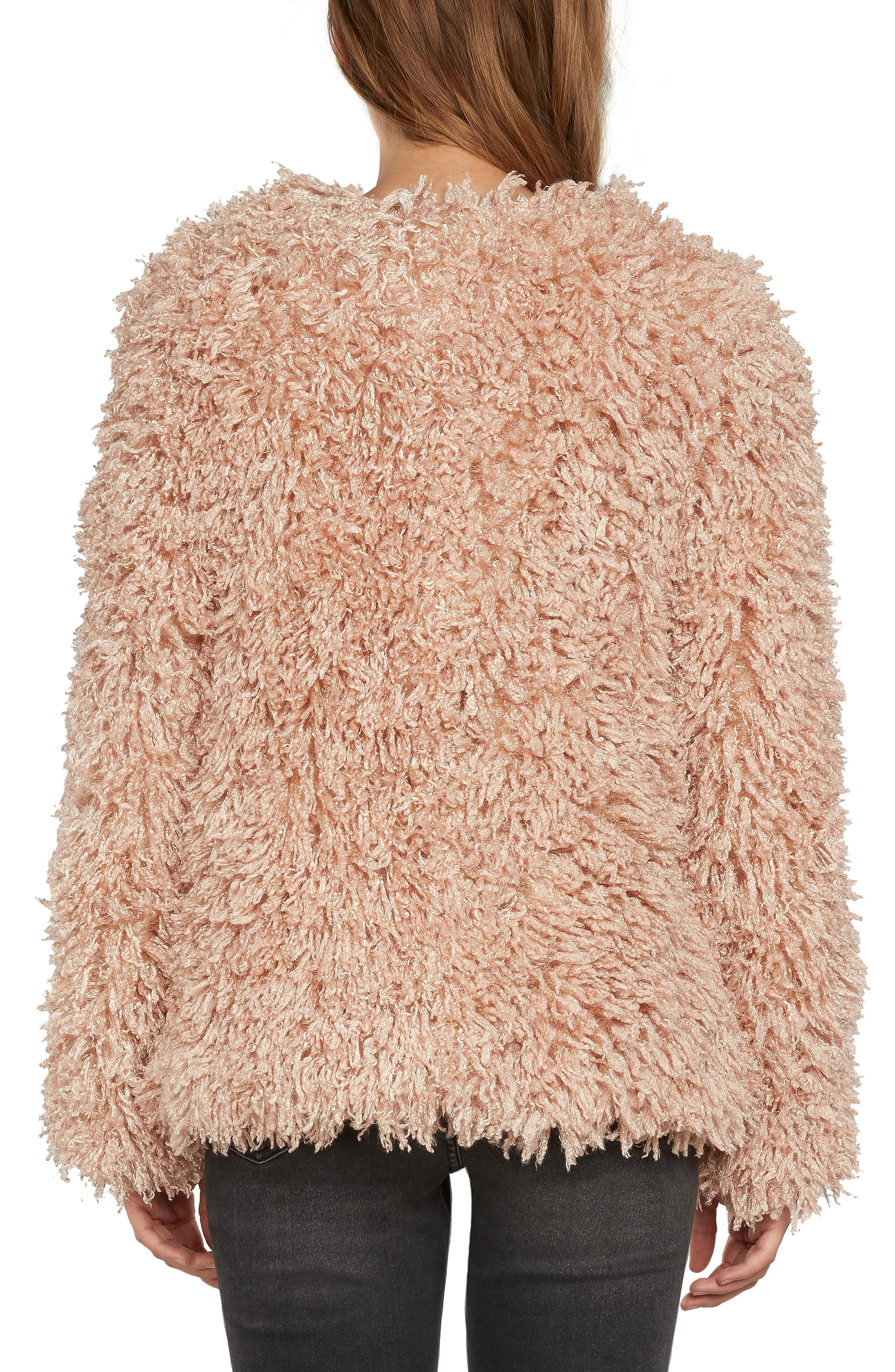 Shaggy Faux Fur Jacket,                             Alternate thumbnail 4, color,