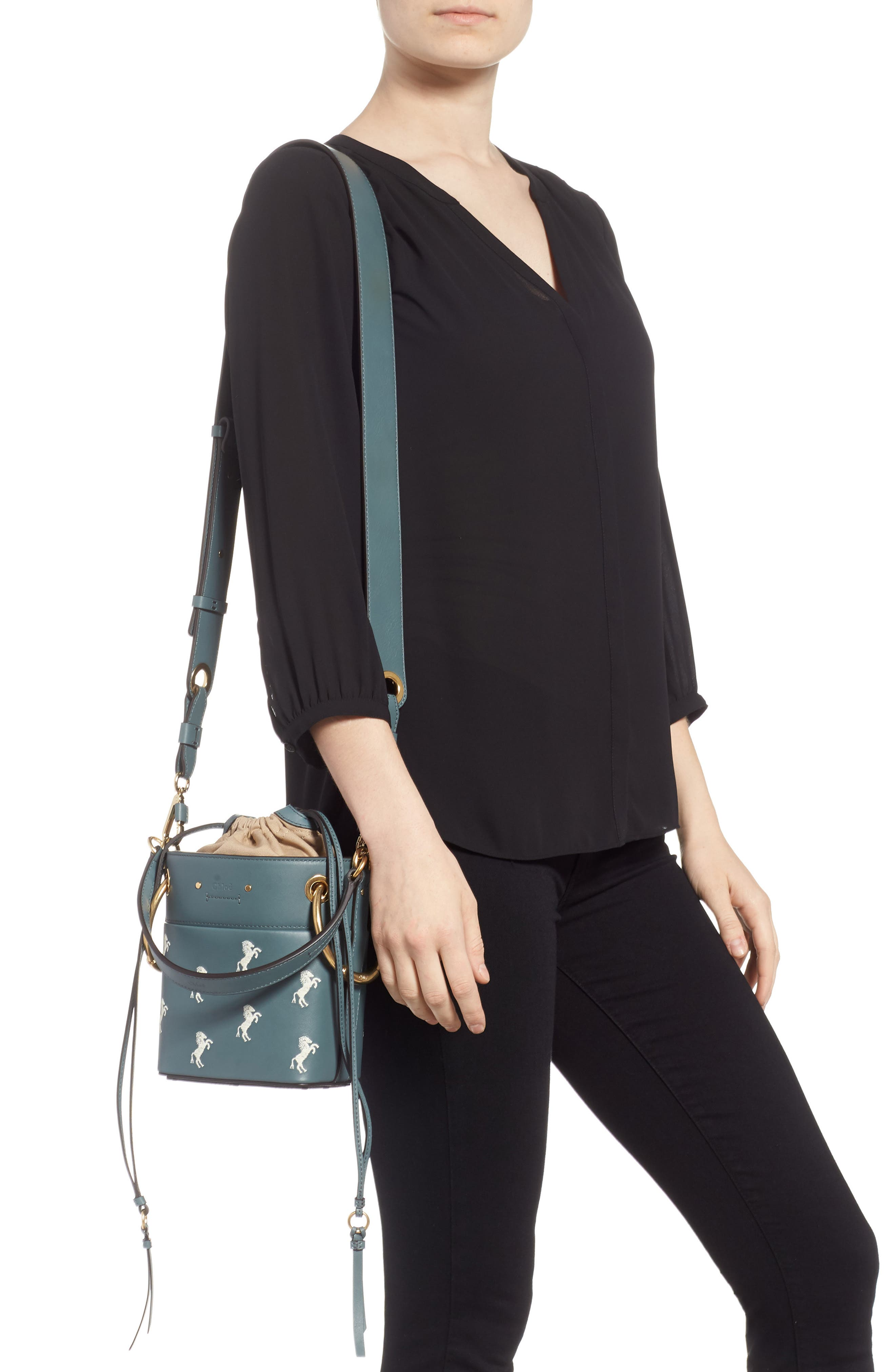 Roy Mini Embroidered Leather Bucket Bag,                             Alternate thumbnail 2, color,                             CLOUDY BLUE