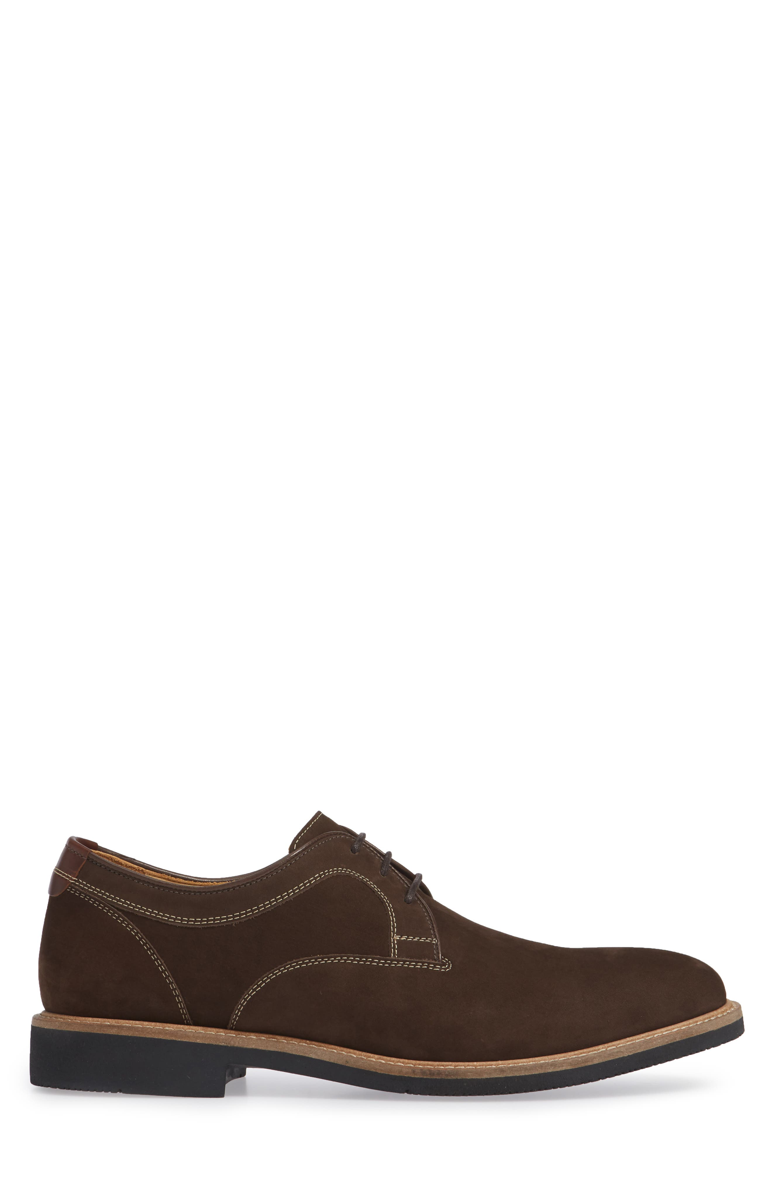 JOHNSTON & MURPHY,                             Barlow Plain Toe Derby,                             Alternate thumbnail 3, color,                             CHOCOLATE NUBUCK