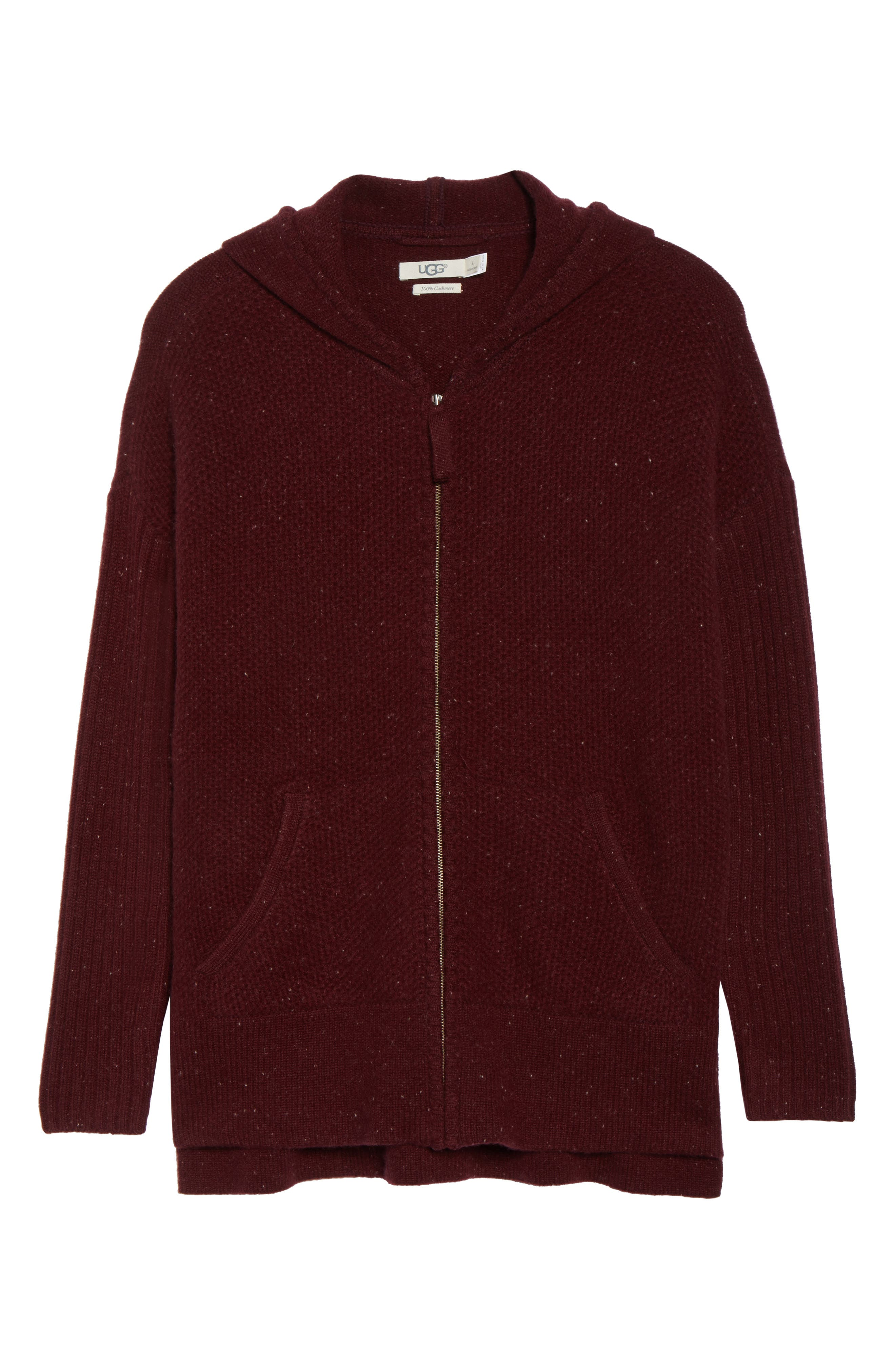 Elyse Cashmere Zip Hoodie,                             Alternate thumbnail 6, color,                             PORT HEATHER