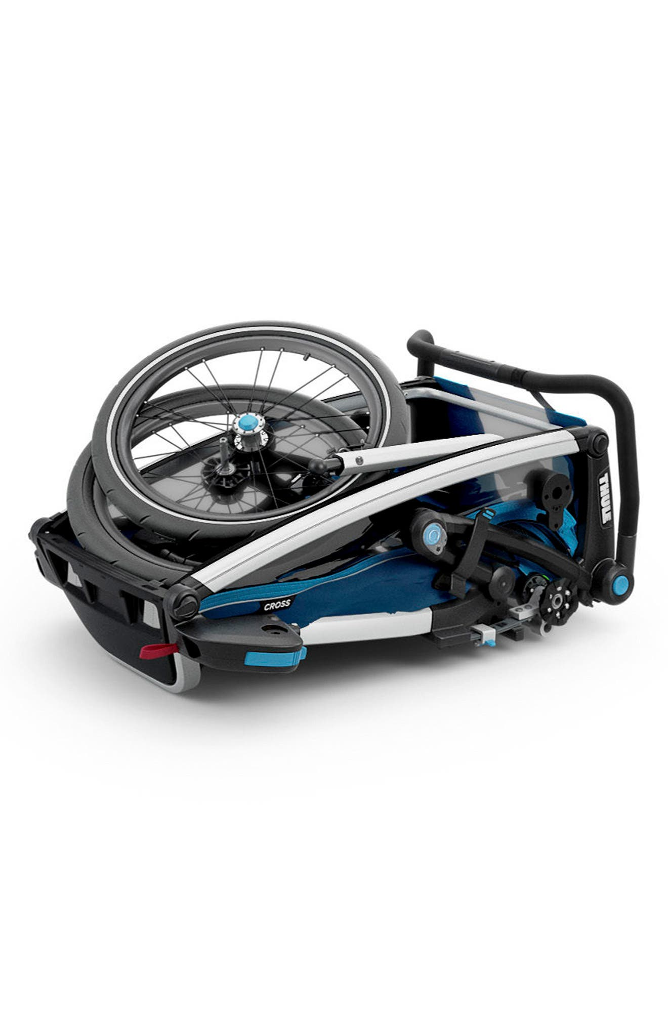 Chariot Cross 1 Multisport Cycle Trailer/Stroller,                             Alternate thumbnail 3, color,                             THULE BLUE