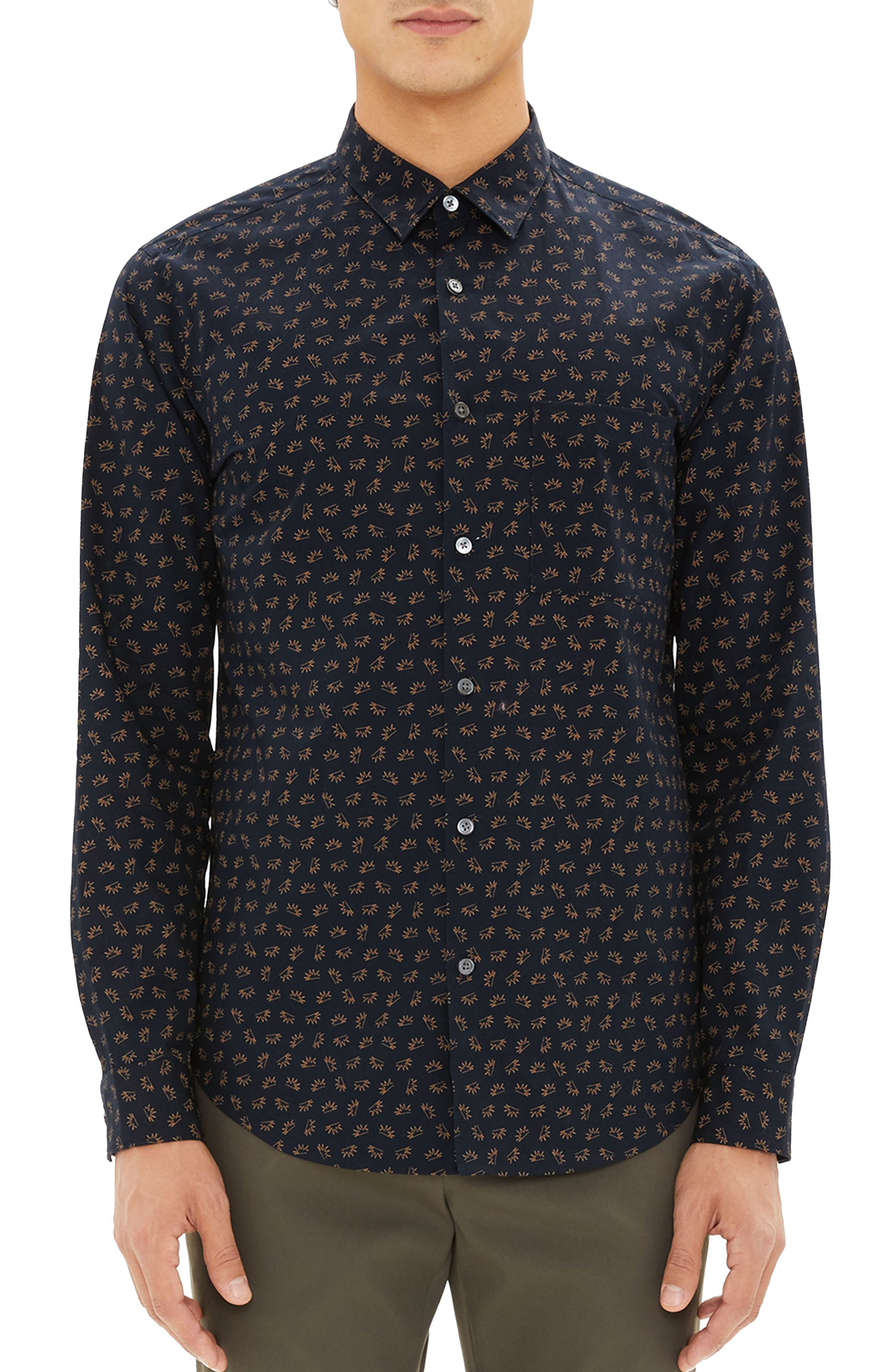 Irving Regular Fit Crown Print Sport Shirt,                         Main,                         color, 400