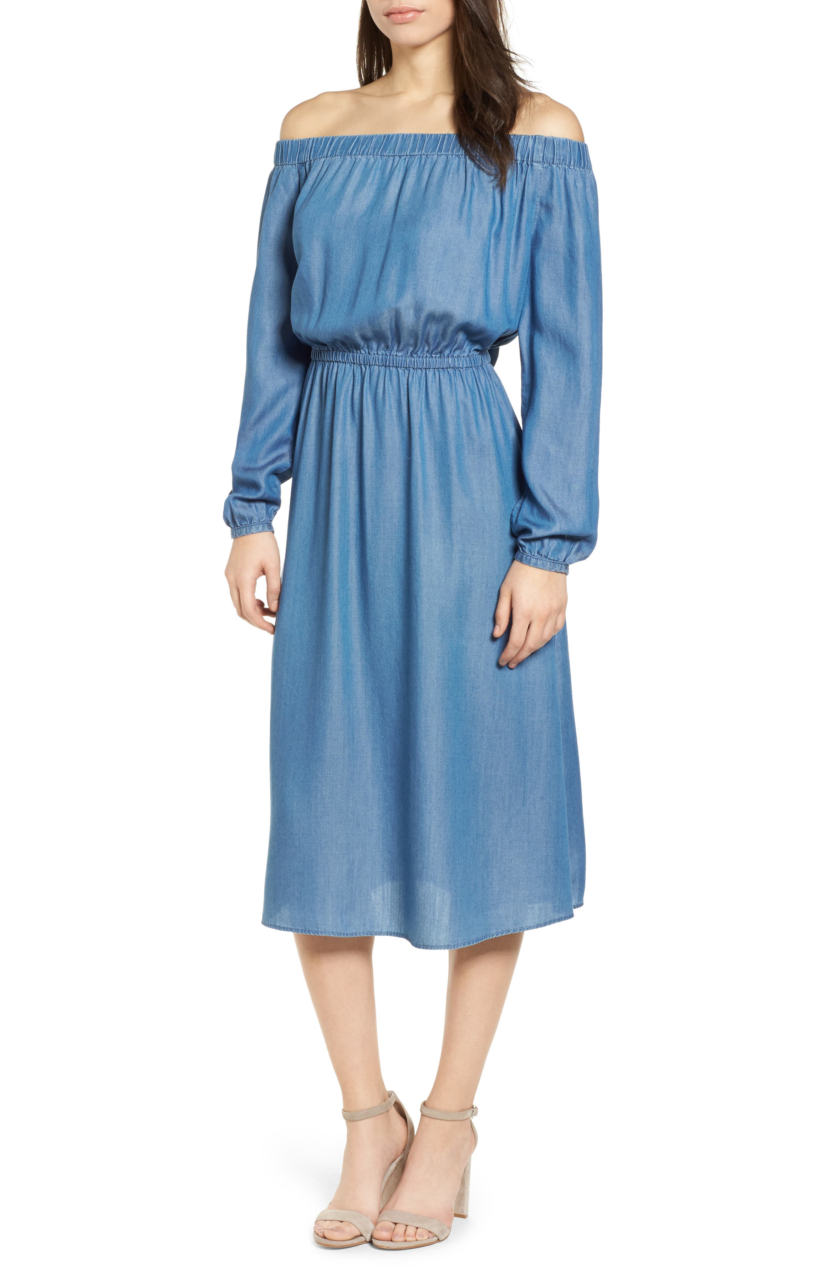 Off the Shoulder Midi Dress,                             Main thumbnail 1, color,                             401