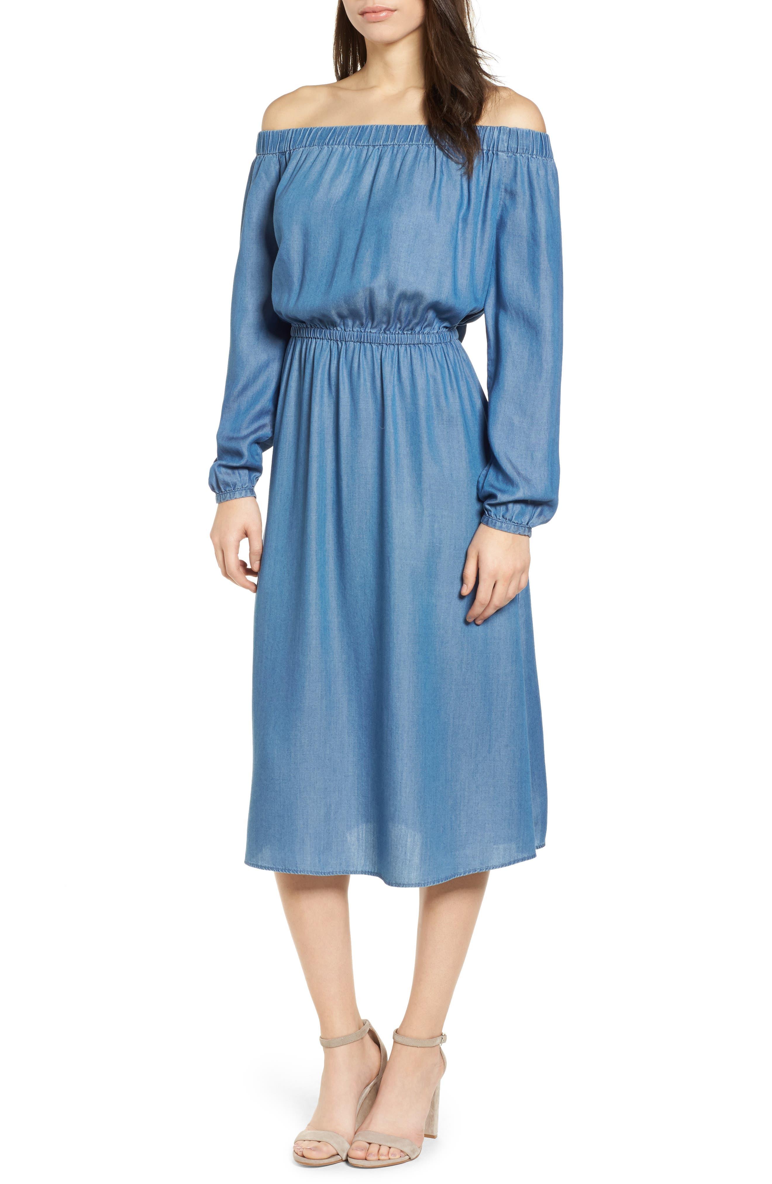 Off the Shoulder Midi Dress,                         Main,                         color, 401
