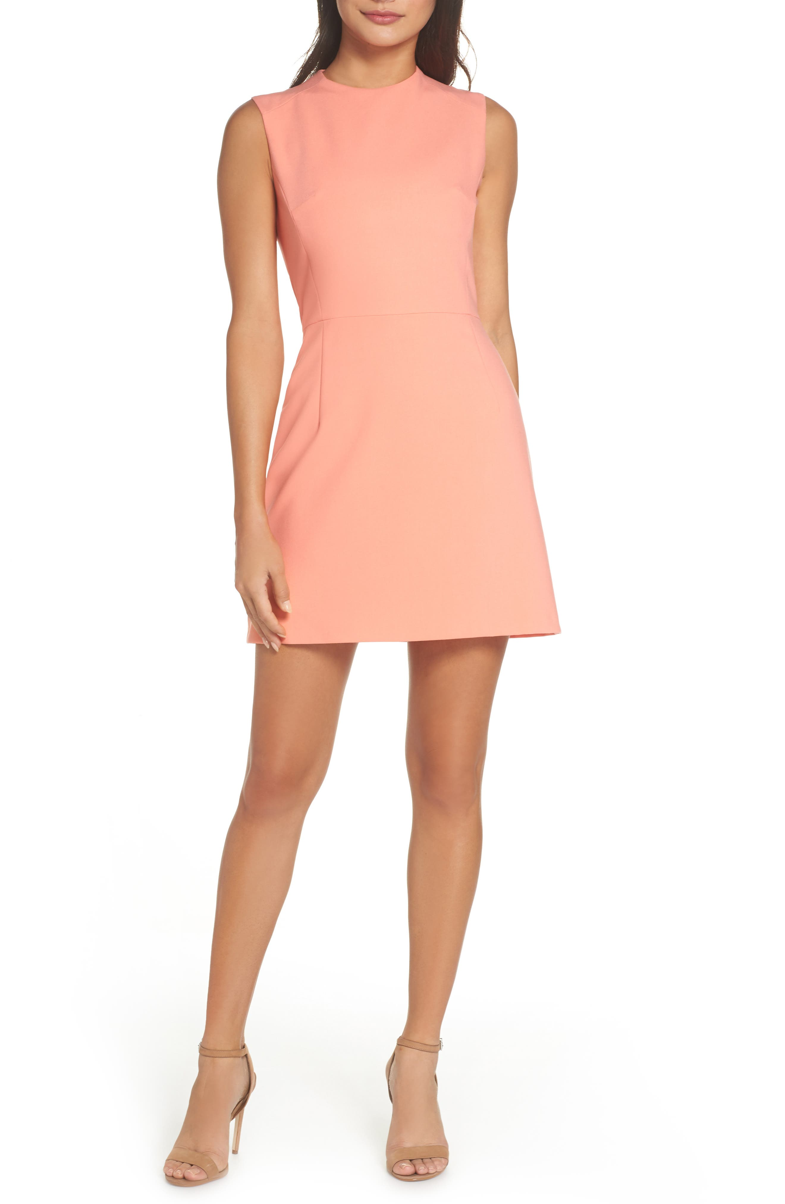 French Connection Sundae Stretch Minidress, Coral