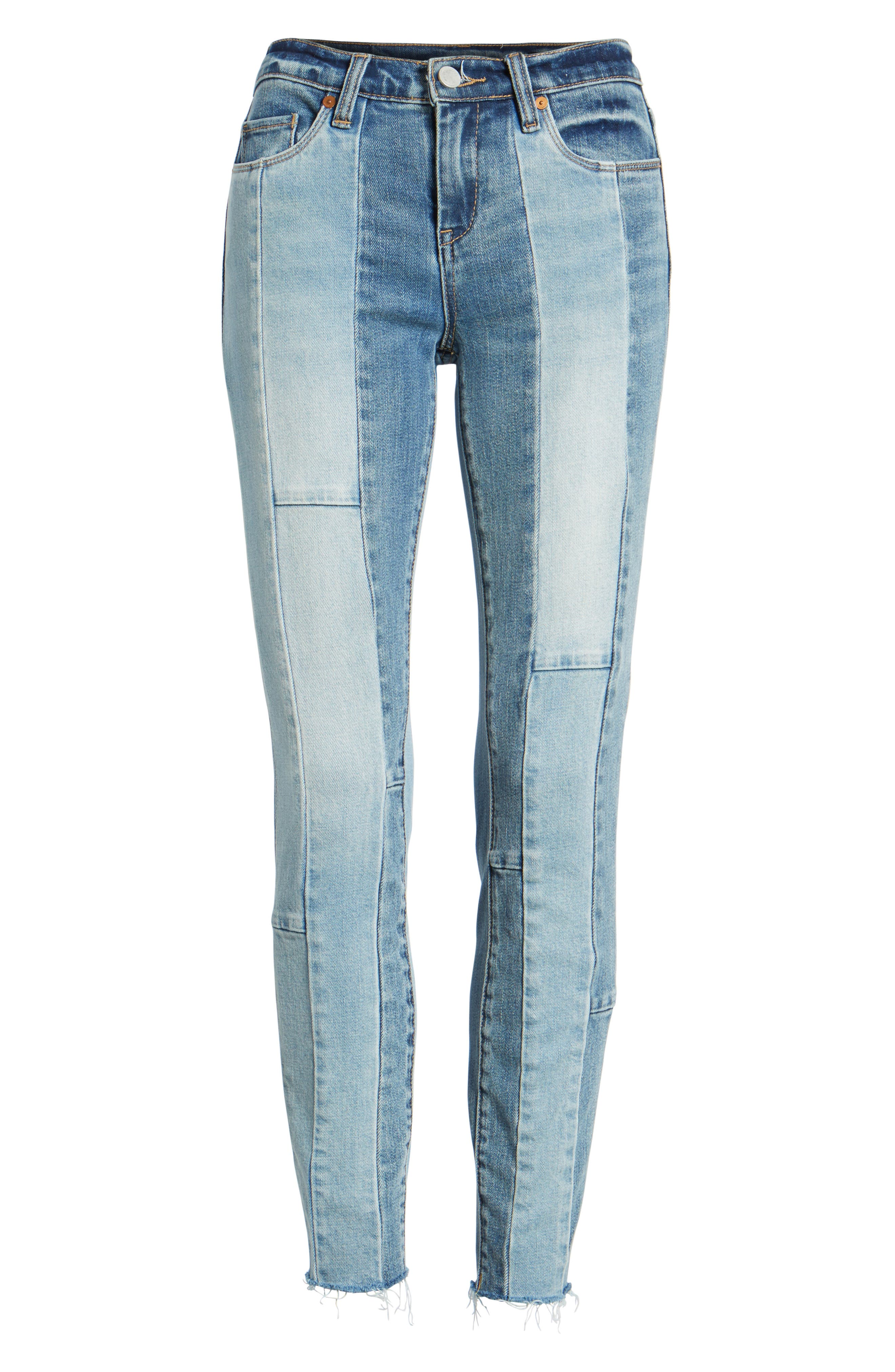The Reade Patchwork Crop Skinny Jeans,                             Alternate thumbnail 7, color,                             400