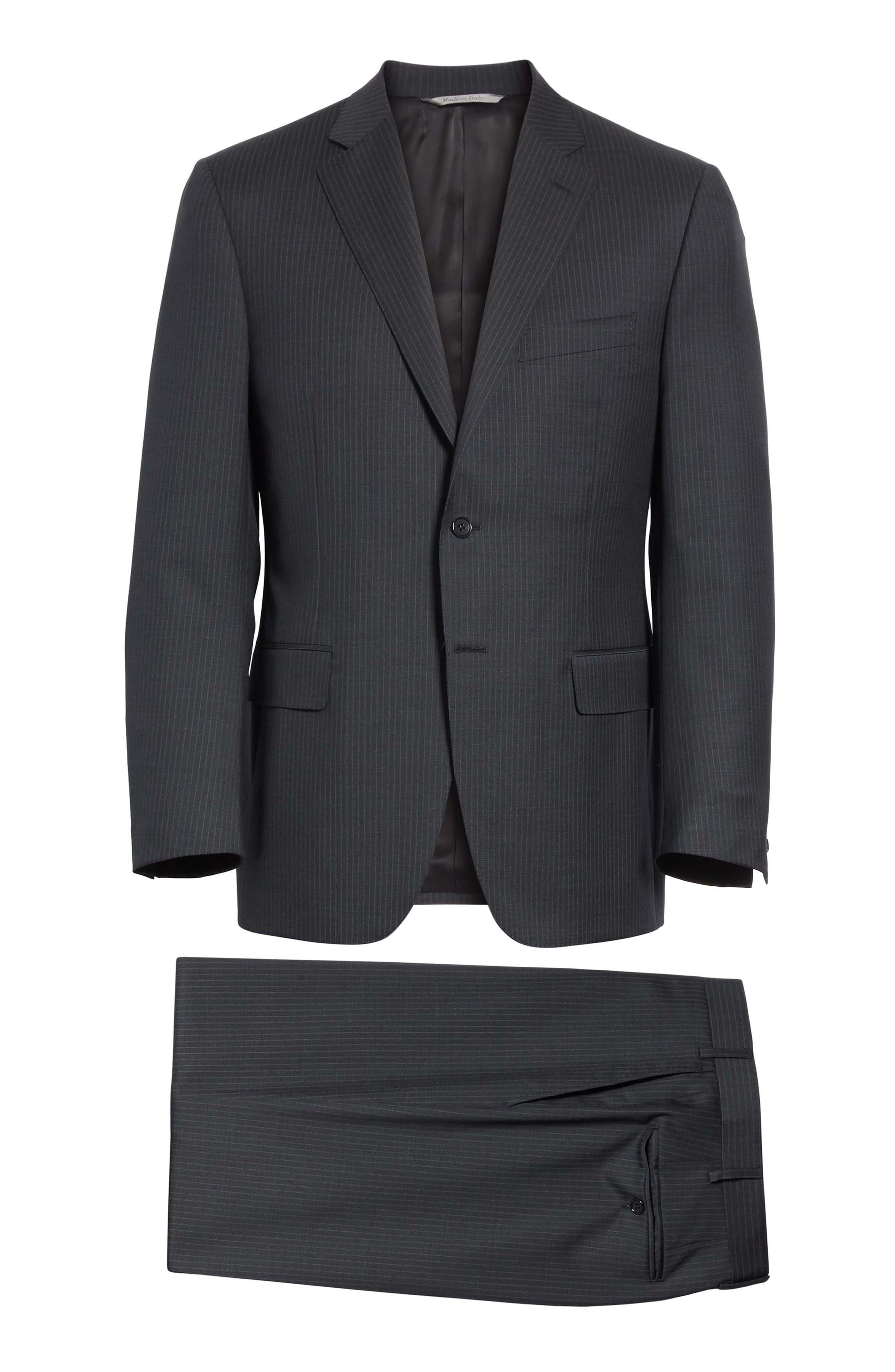 CANALI,                             Classic Fit Stripe Wool Suit,                             Alternate thumbnail 8, color,                             010