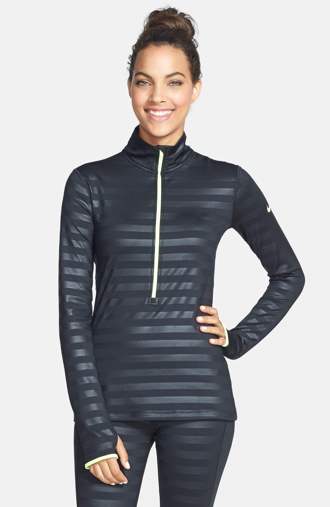 'Pro Hyperwarm' Embossed Stripe Half Zip Top,                         Main,                         color, 010