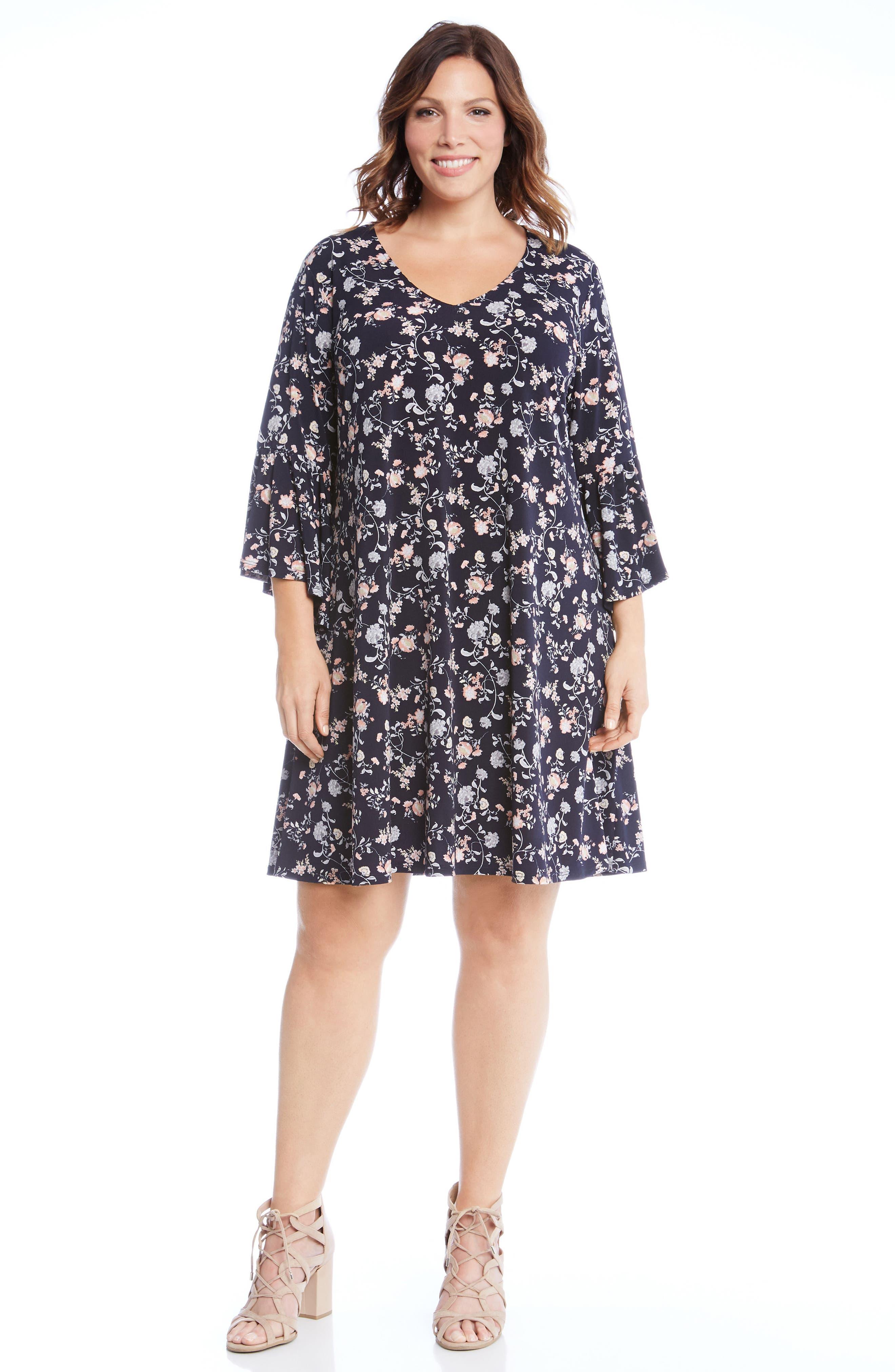 Ruffle Sleeve Floral Shift Dress,                             Alternate thumbnail 4, color,                             460