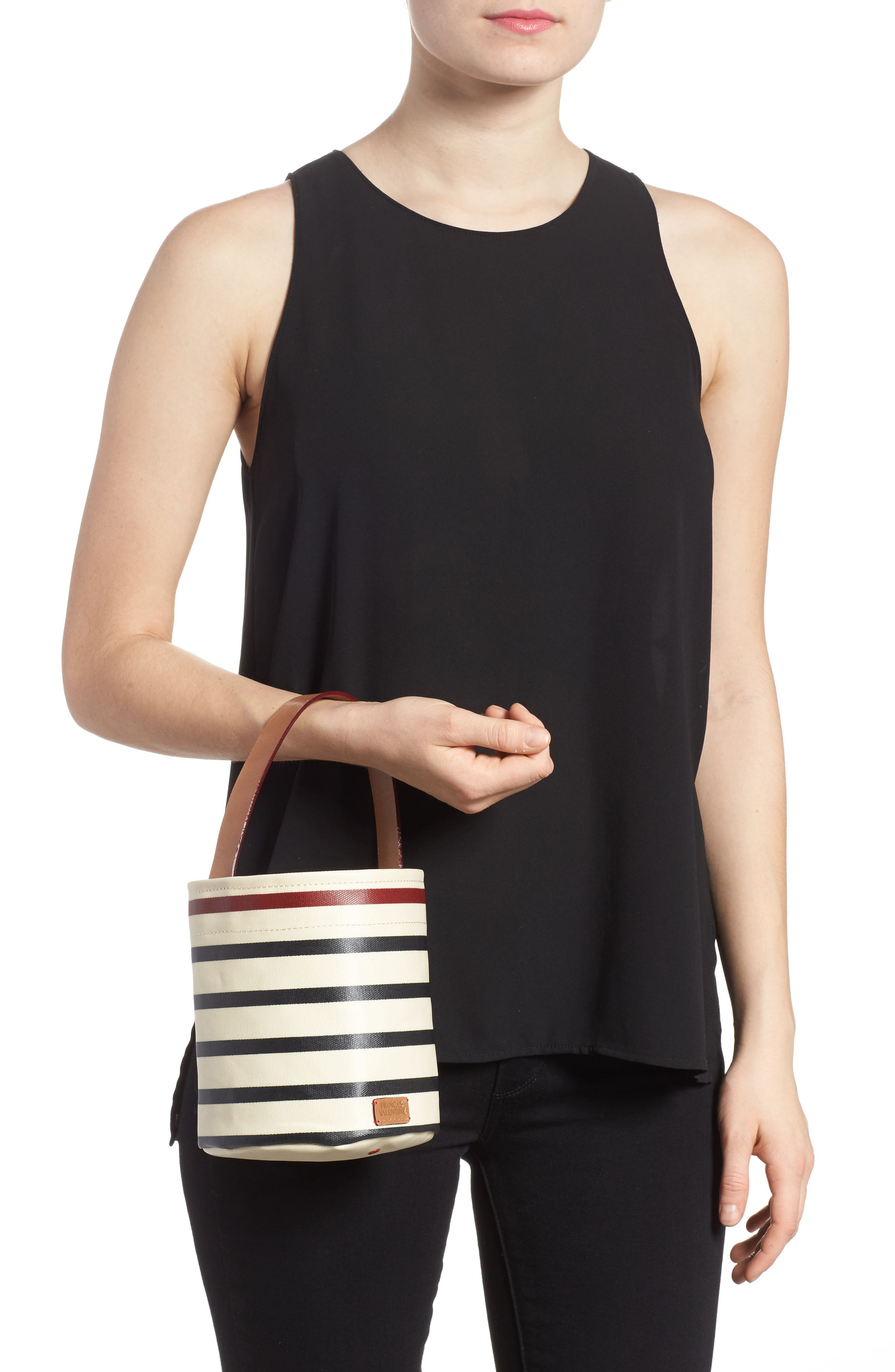 Small Stripe Canvas Bucket Bag,                             Alternate thumbnail 2, color,                             100