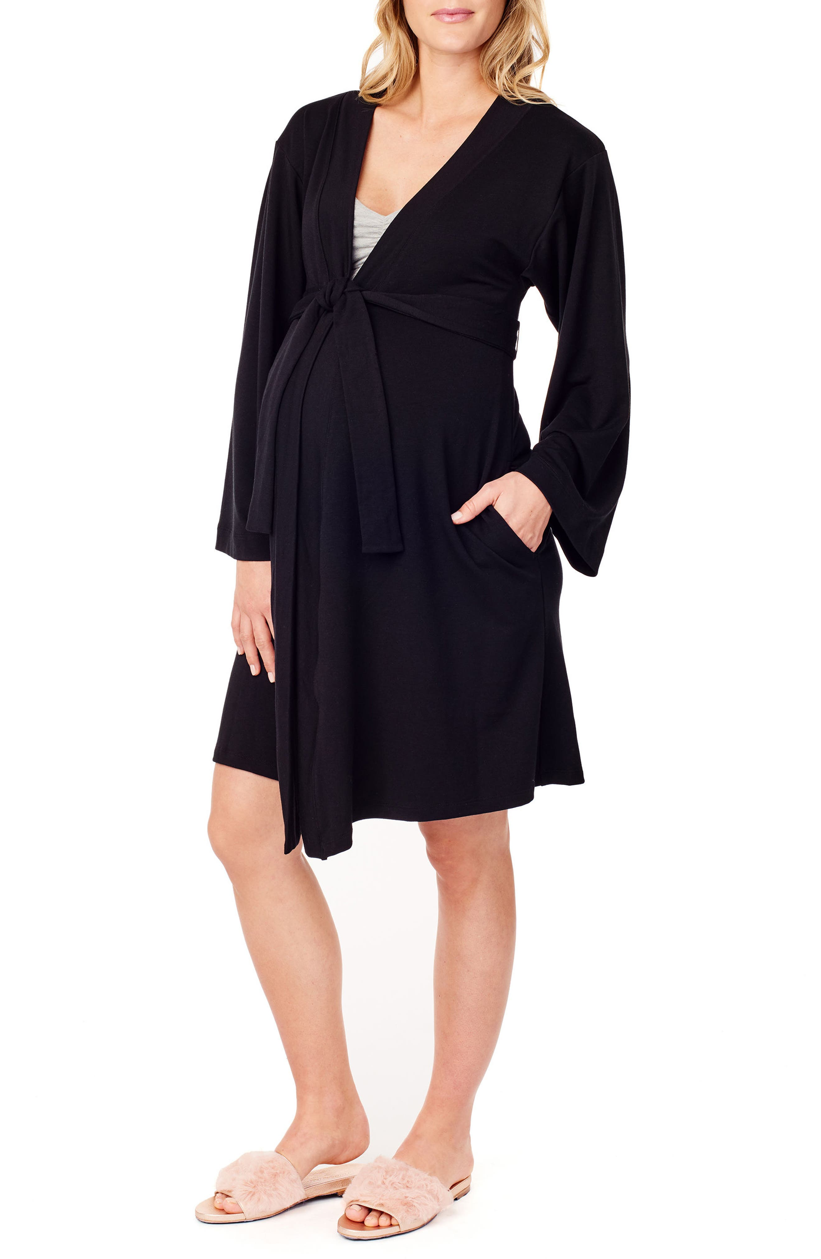 Kimono Lounge Maternity Robe,                             Alternate thumbnail 4, color,                             JET BLACK