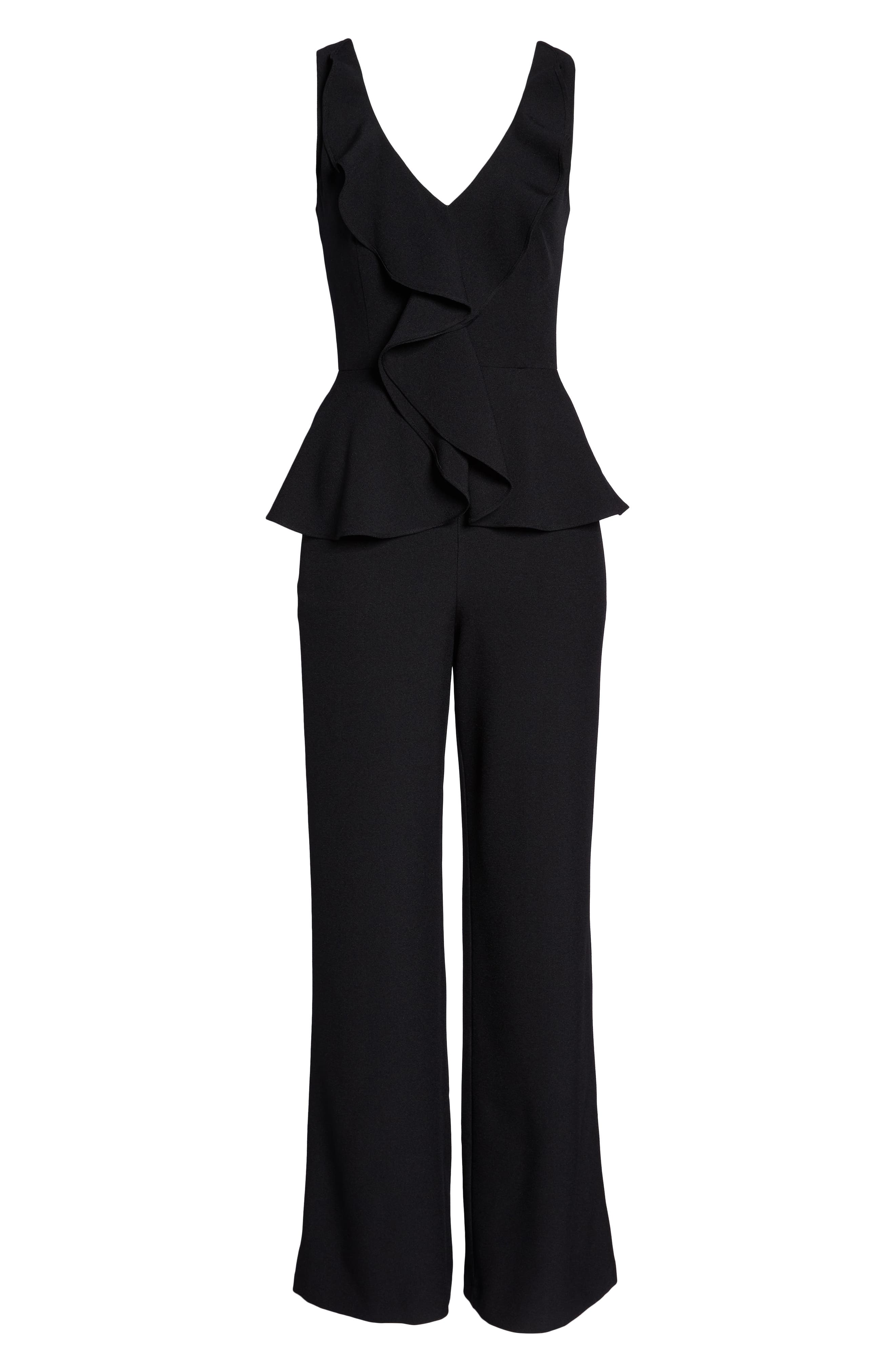 Sleeveless Peplum Jumpsuit,                             Alternate thumbnail 7, color,                             001