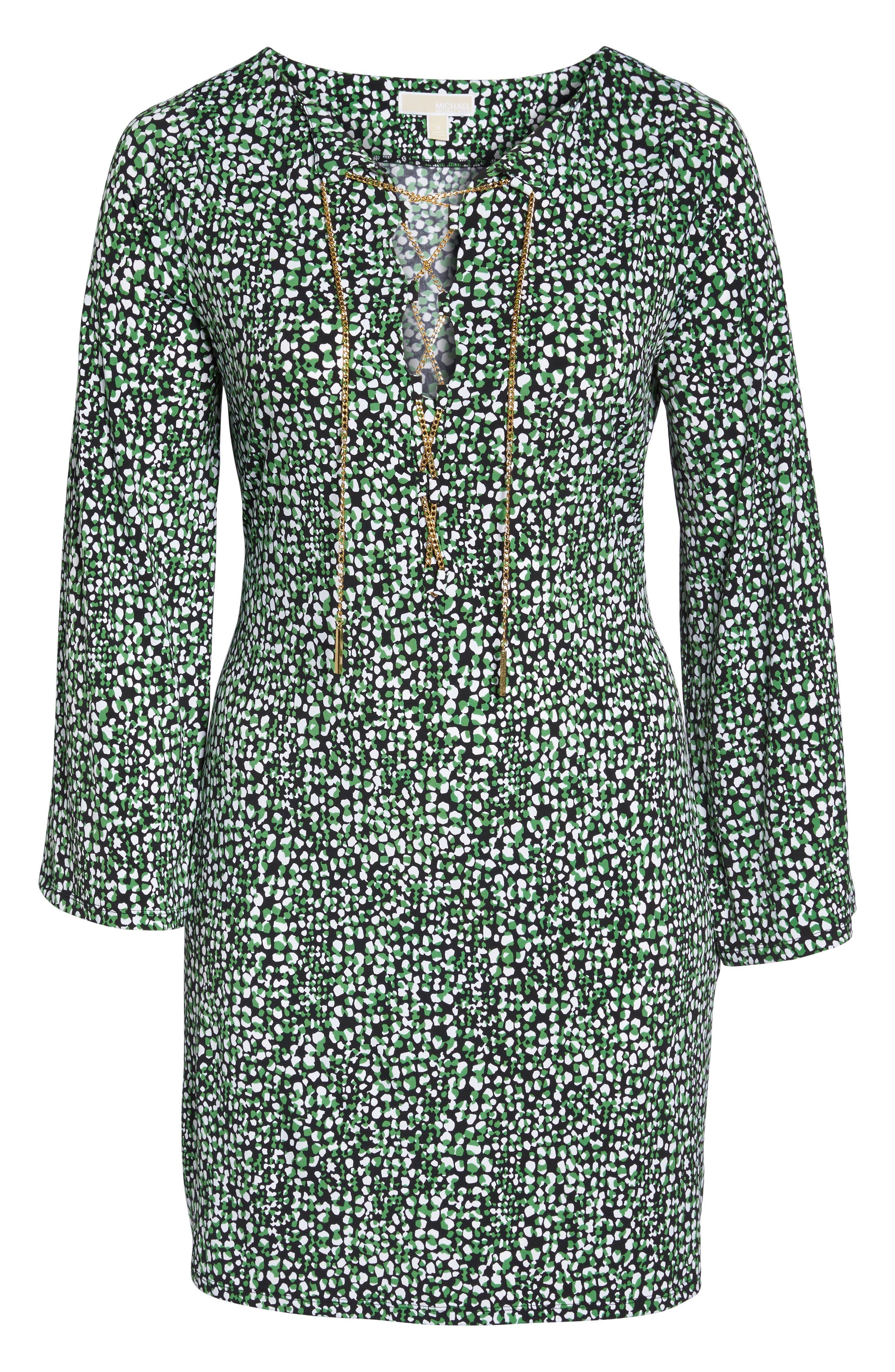 Chain Neck Print Shift Dress,                             Alternate thumbnail 6, color,                             369