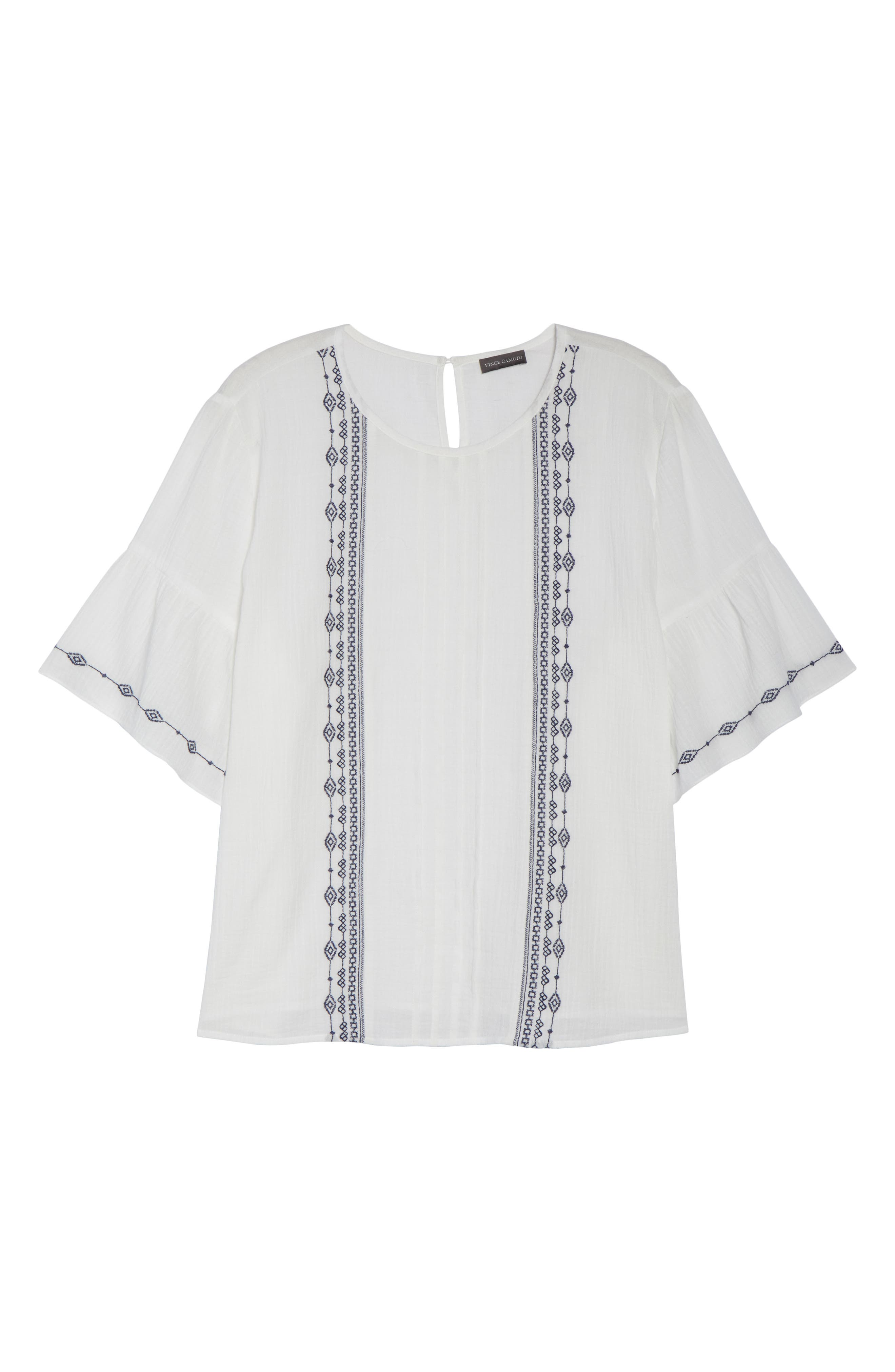 Ruffle Sleeve Embroidered Crinkle Cotton Top,                             Alternate thumbnail 6, color,                             ULTRA WHIT