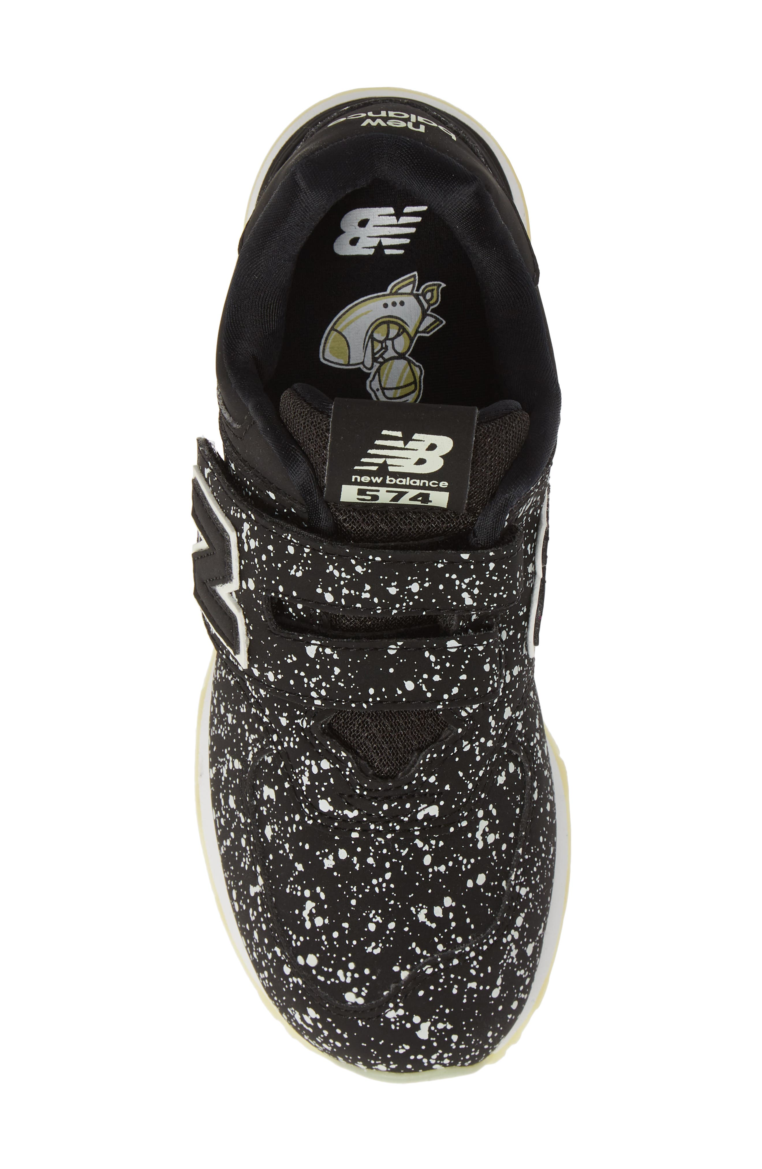 574 Galactic Glow Sneaker,                             Alternate thumbnail 5, color,                             BLACK
