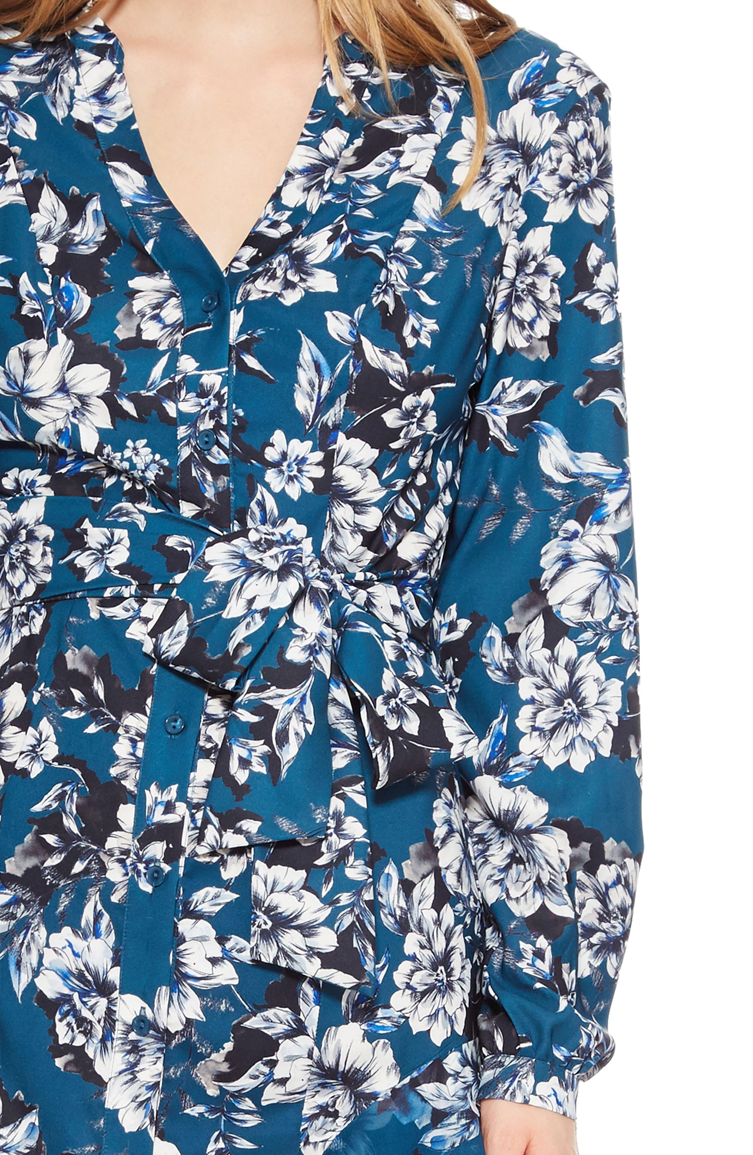 Estella Asymmetrical Floral Shirtdress,                             Alternate thumbnail 4, color,                             EVERGLADE GARDENS