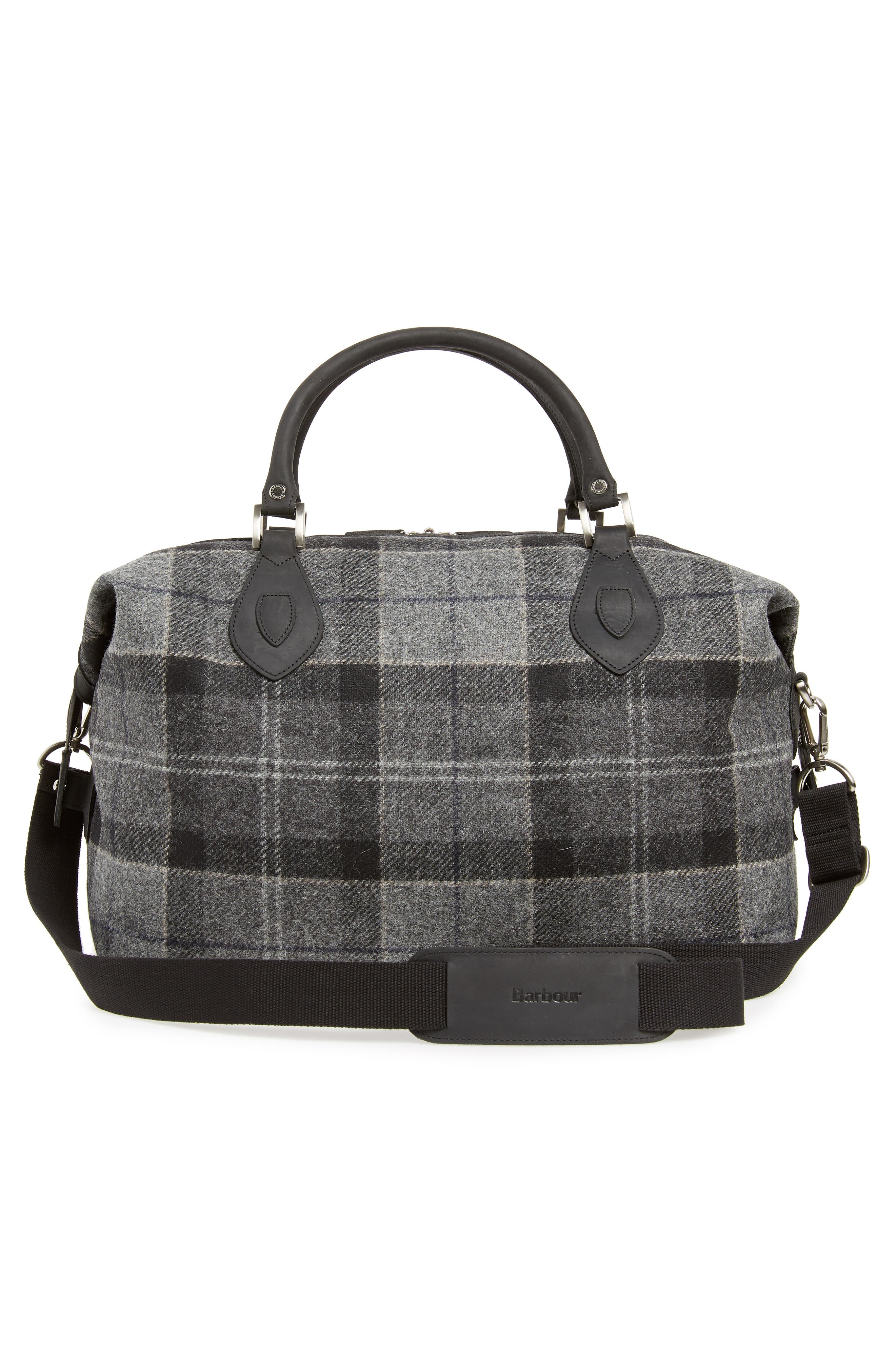 Shadow Duffel Bag,                             Alternate thumbnail 3, color,                             BLACK/ GREY TARTAN