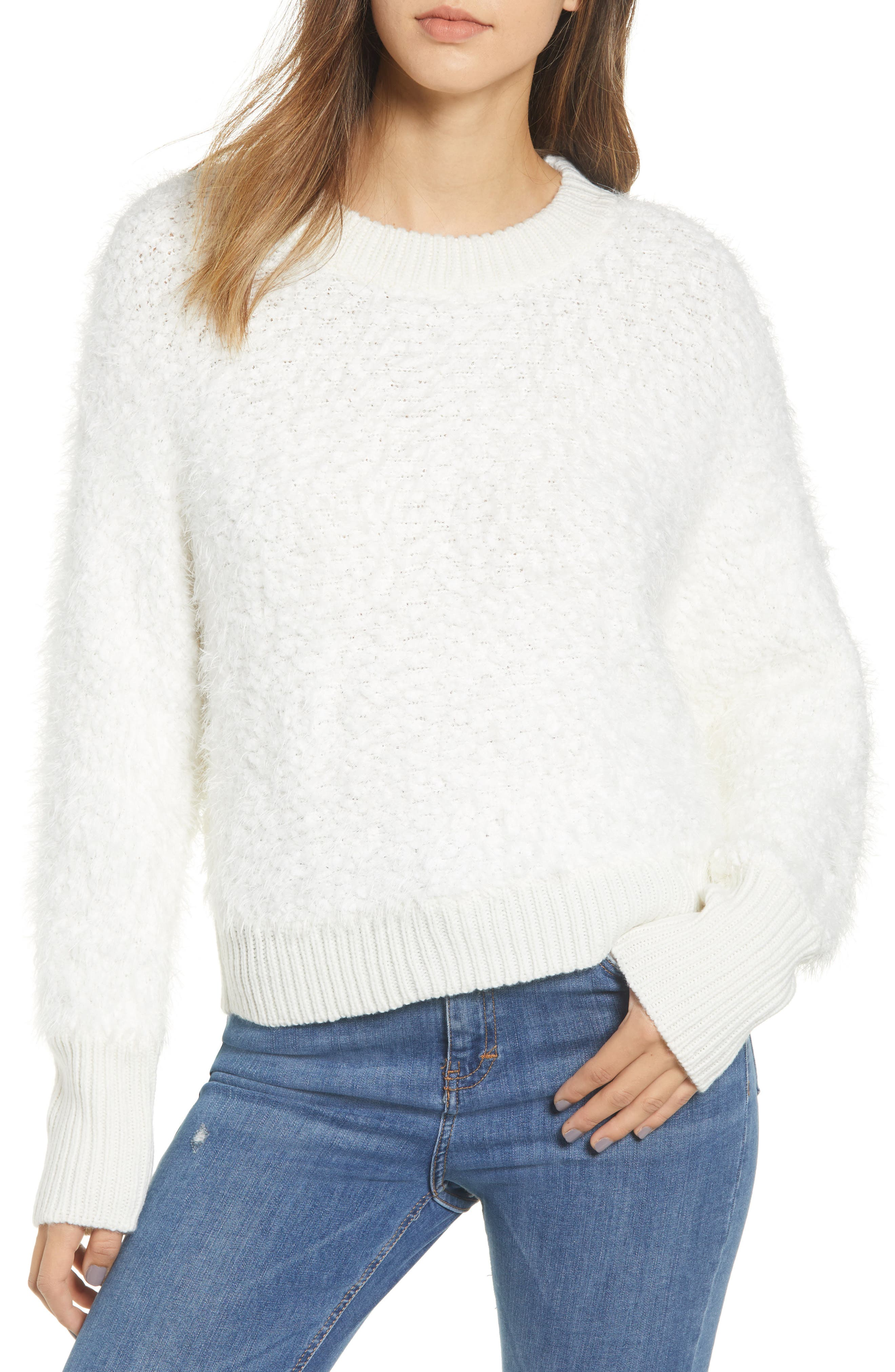 Fluffy Dolman Sweater, Main, color, IVORY
